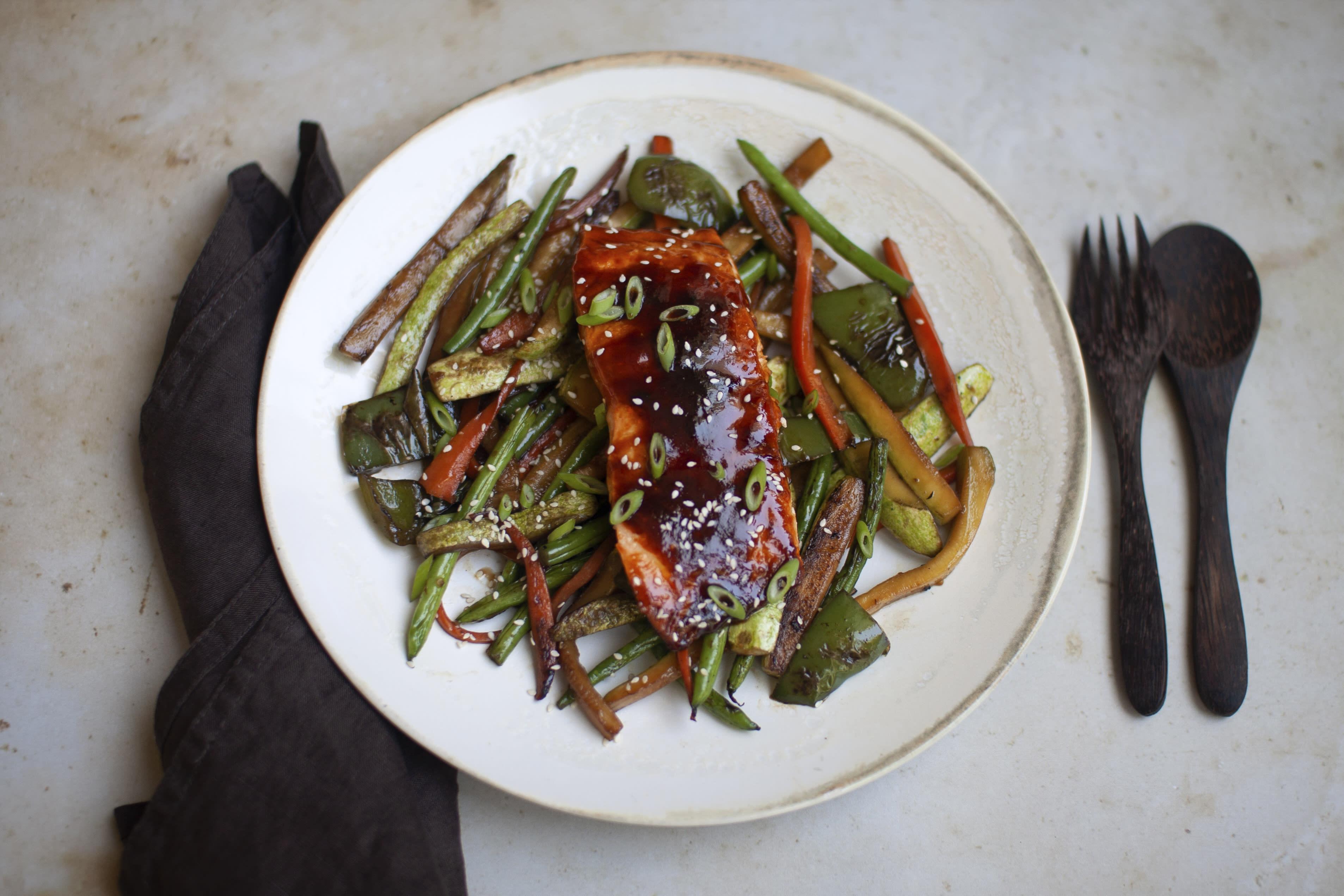 Salmon Teriyaki with Stir-Fried Vegetables