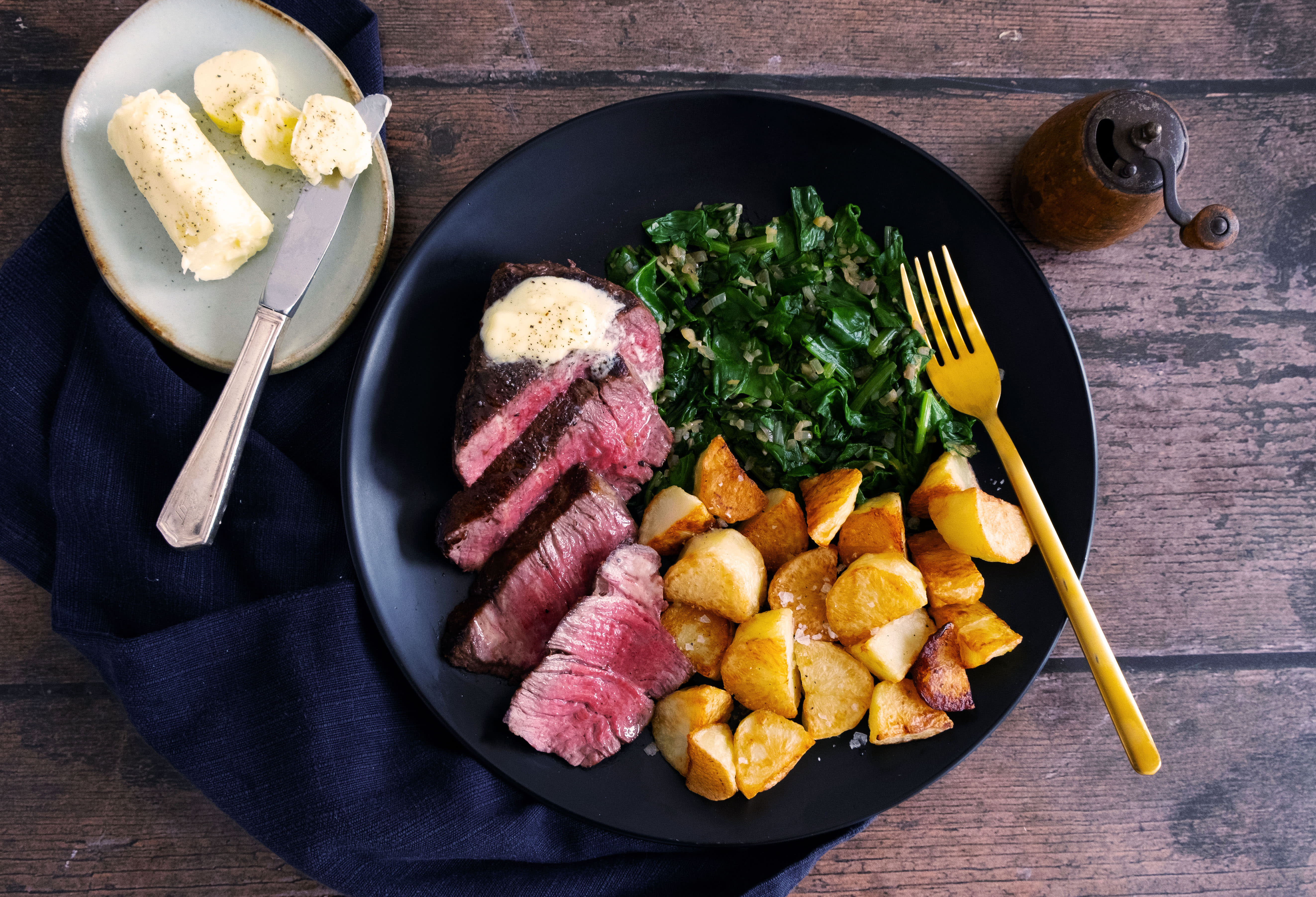 9 oz Fillet of Beef with Truffle Butter and Roast Potatoes
