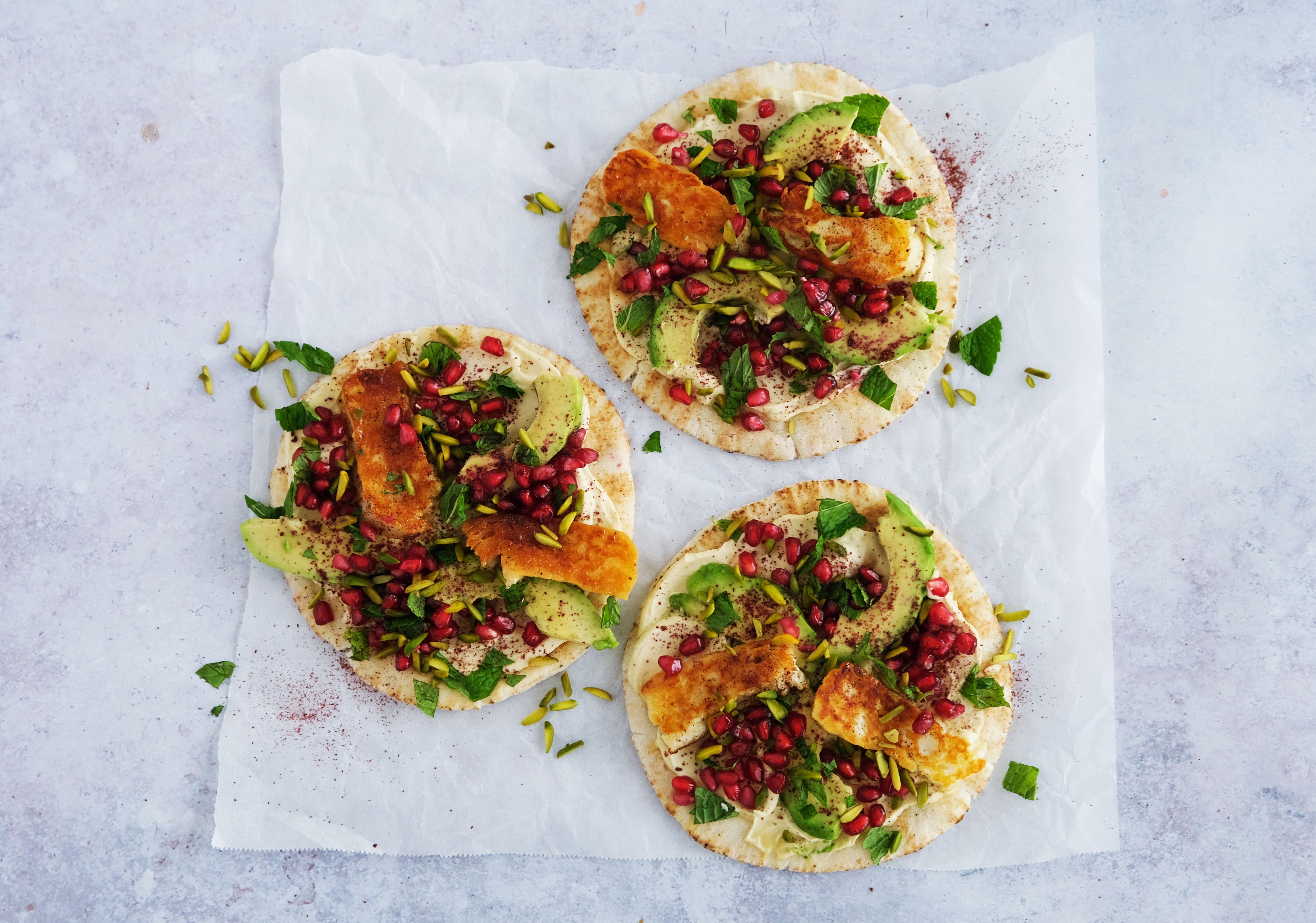 Honey Fried Halloumi Flatbreads with Hummus, Avocado and Pomegranate