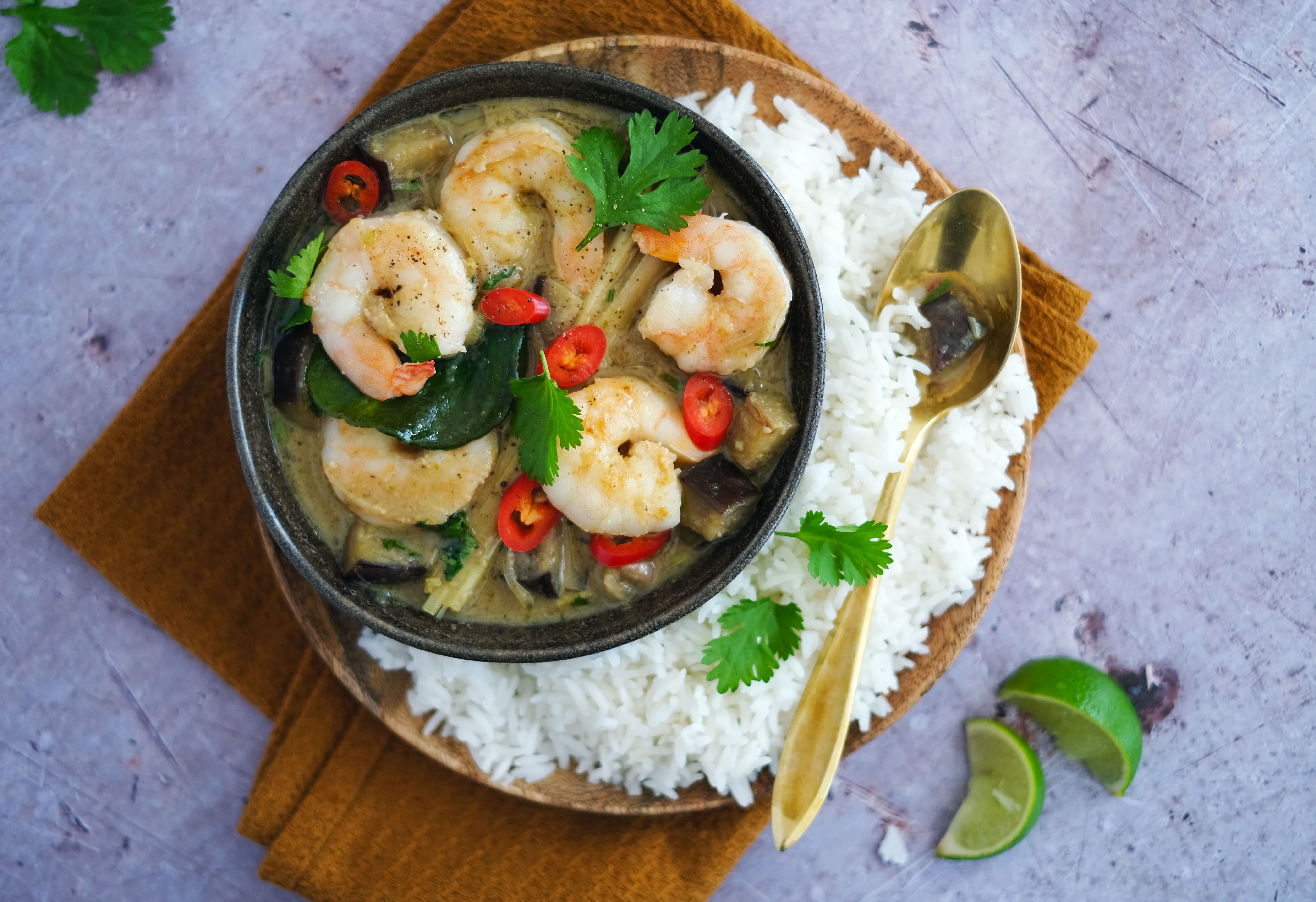 Spicy Thai Green Curry with Jumbo Prawns and Eggplant
