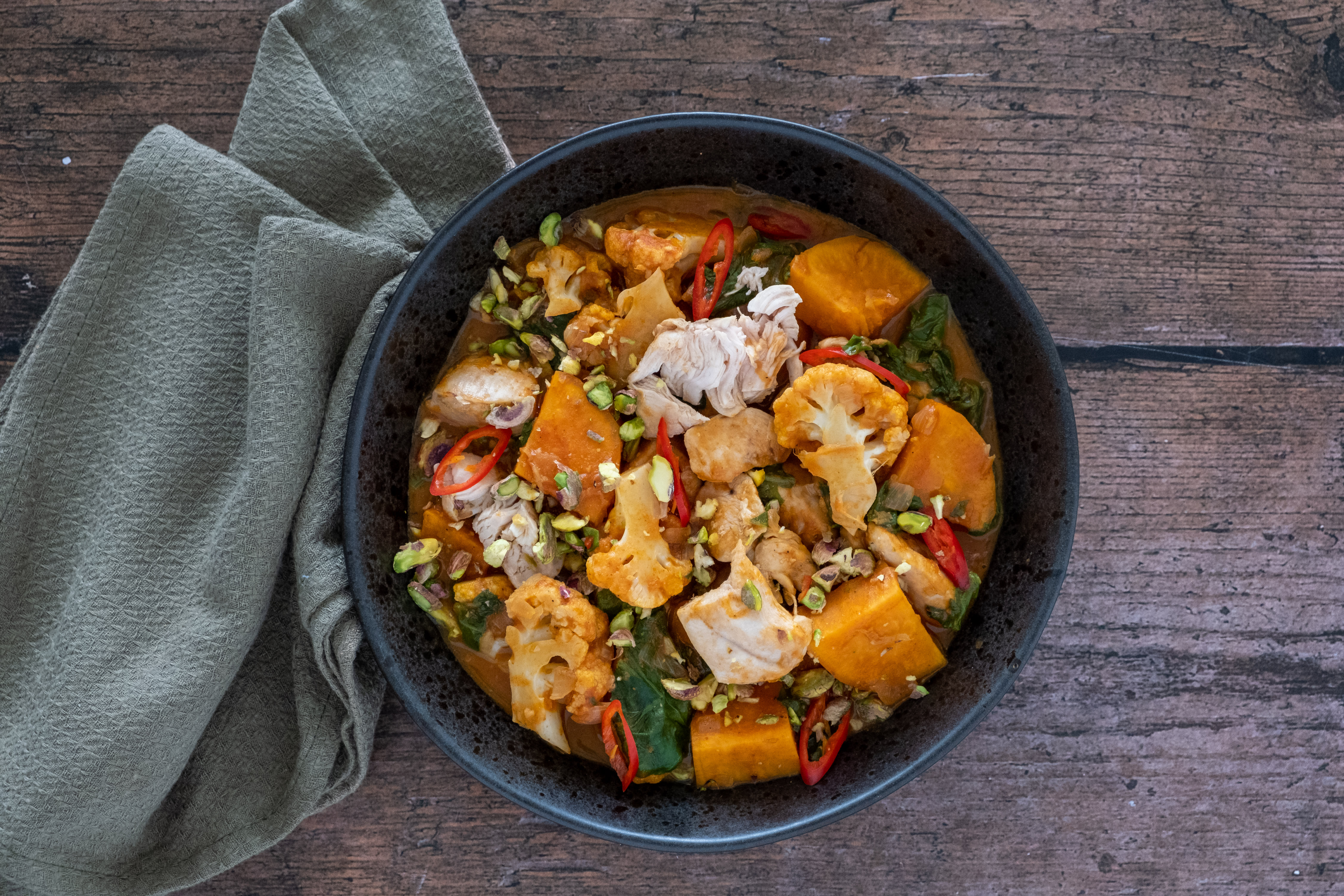 Sweet Potato and Chicken Curry with Coconut Milk and Cauliflower