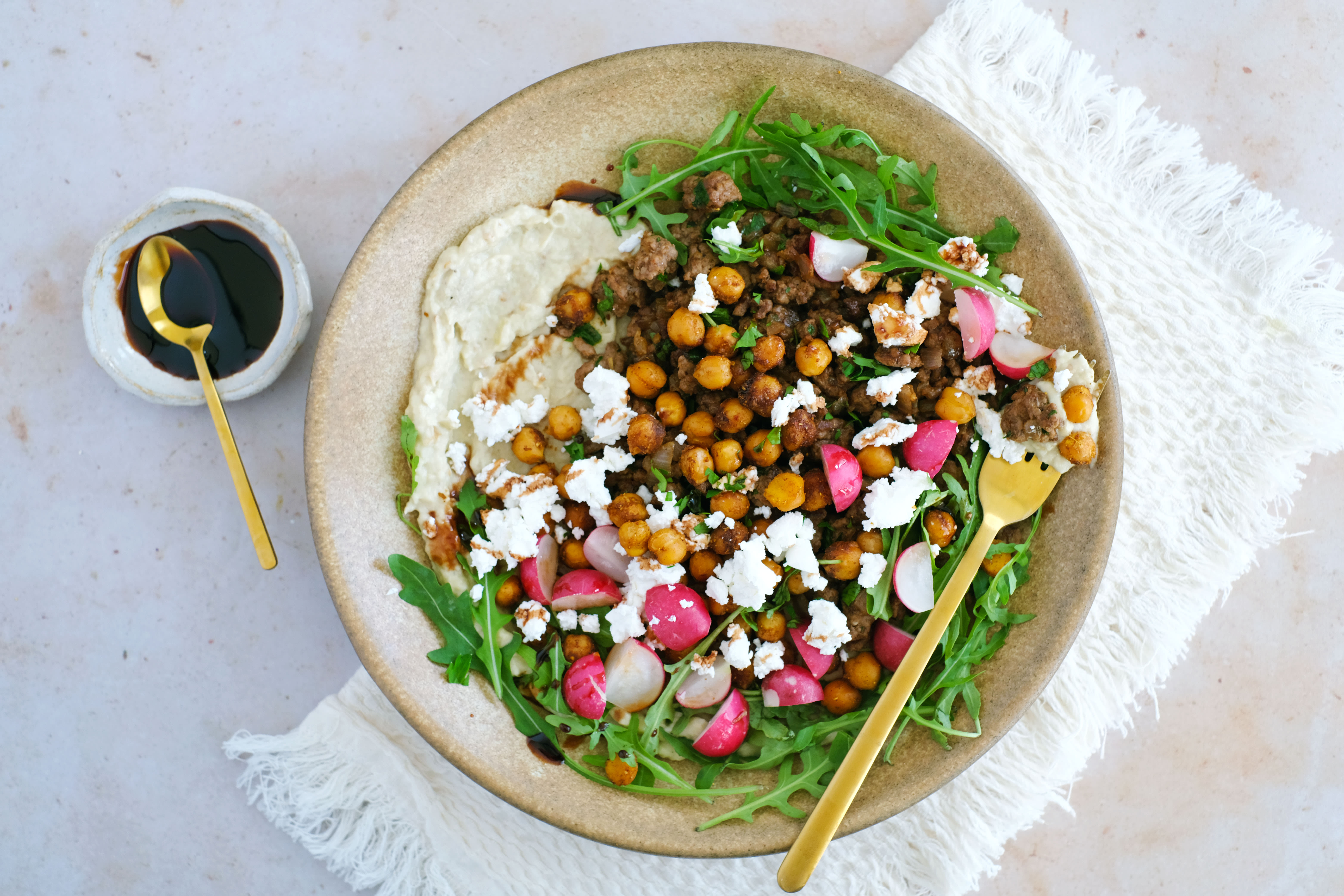 Middle Eastern Lamb and Chickpea Salad with Moutabal