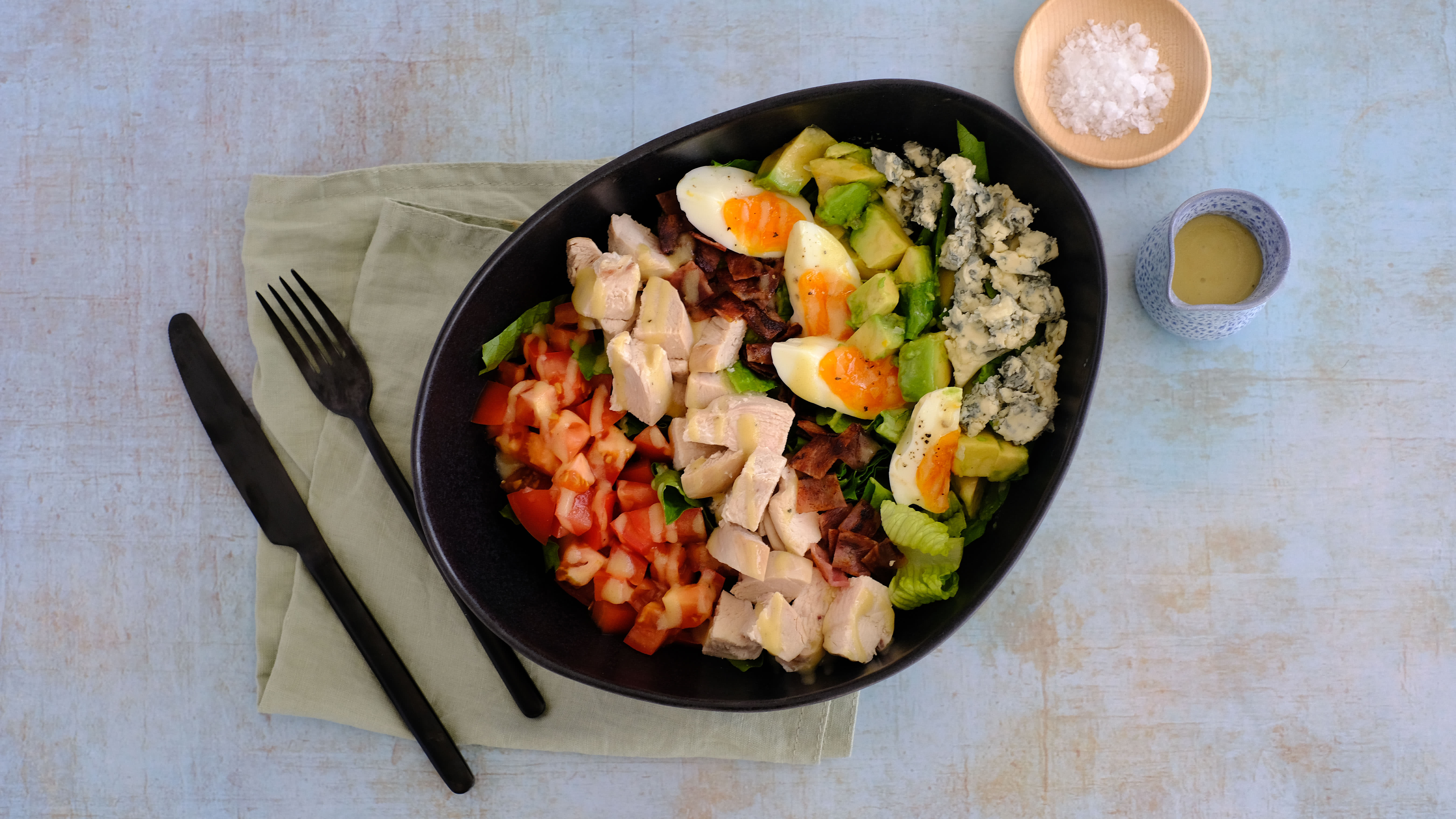 Chicken Cobb Salad with Blue Cheese and Mustard Vinaigrette