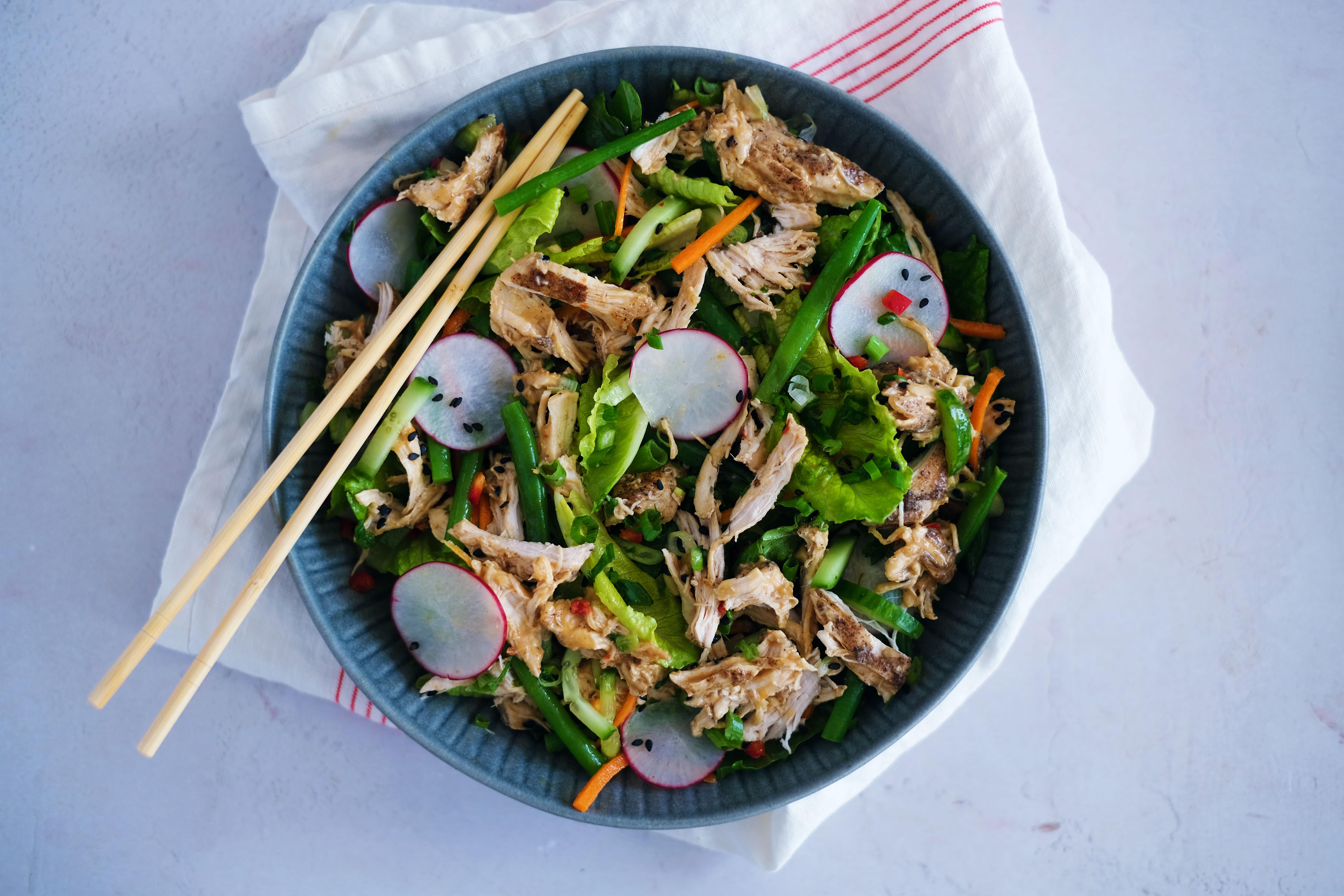 Bang Bang Chicken Salad with Green Beans and Radish