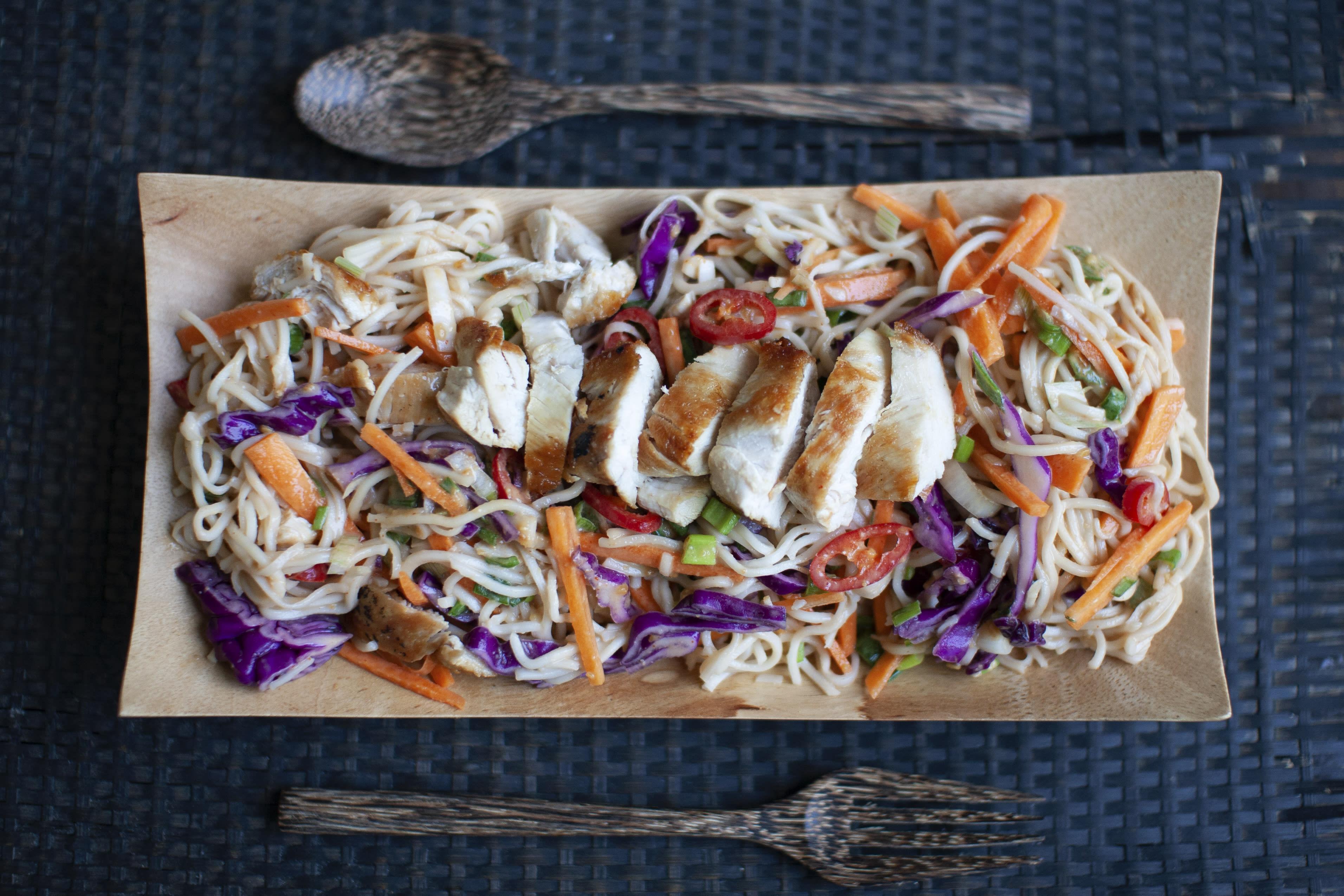 Crunchy Chicken Satay Noodle Salad