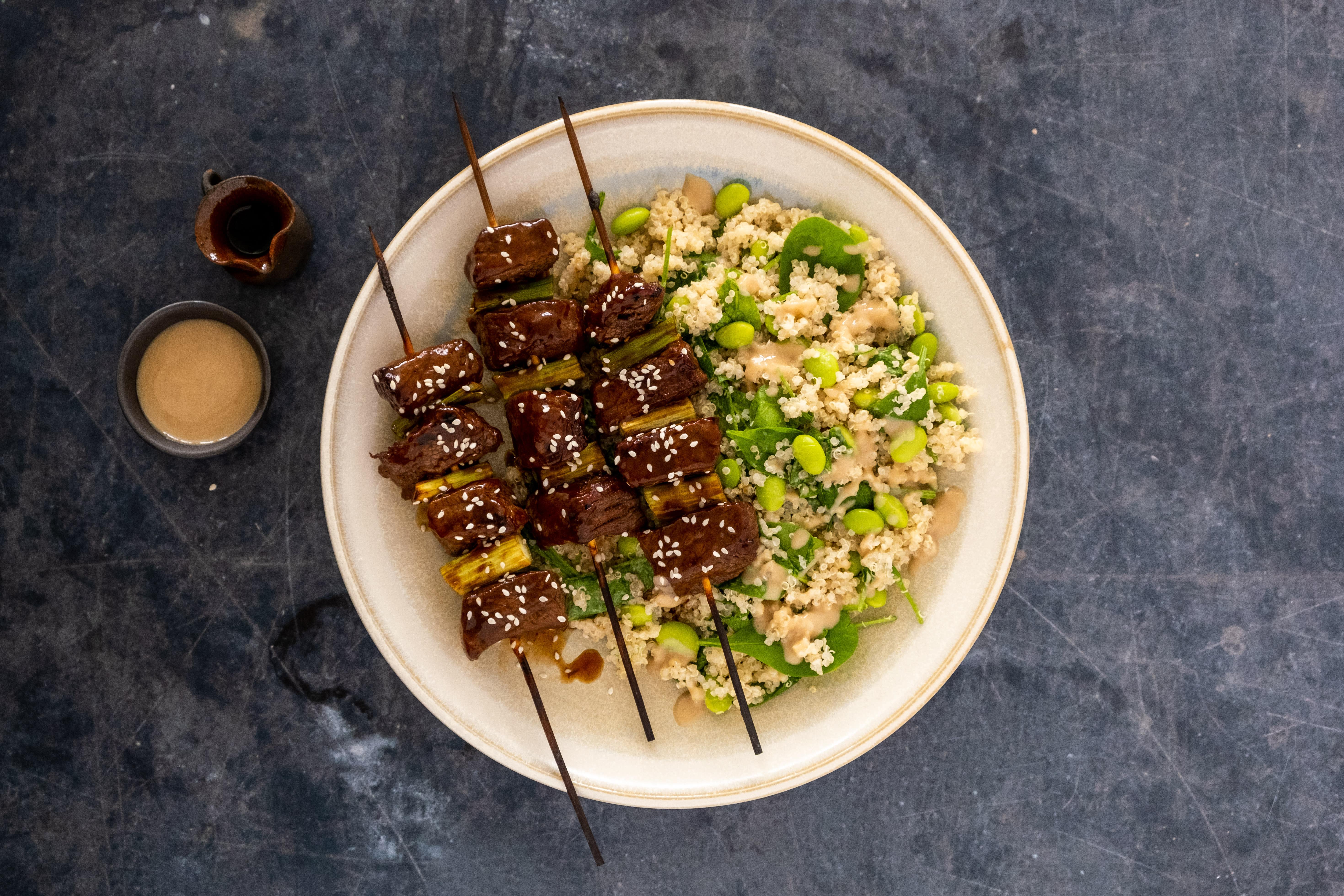 Beef Yakitori with Quinoa and Edamame Salad