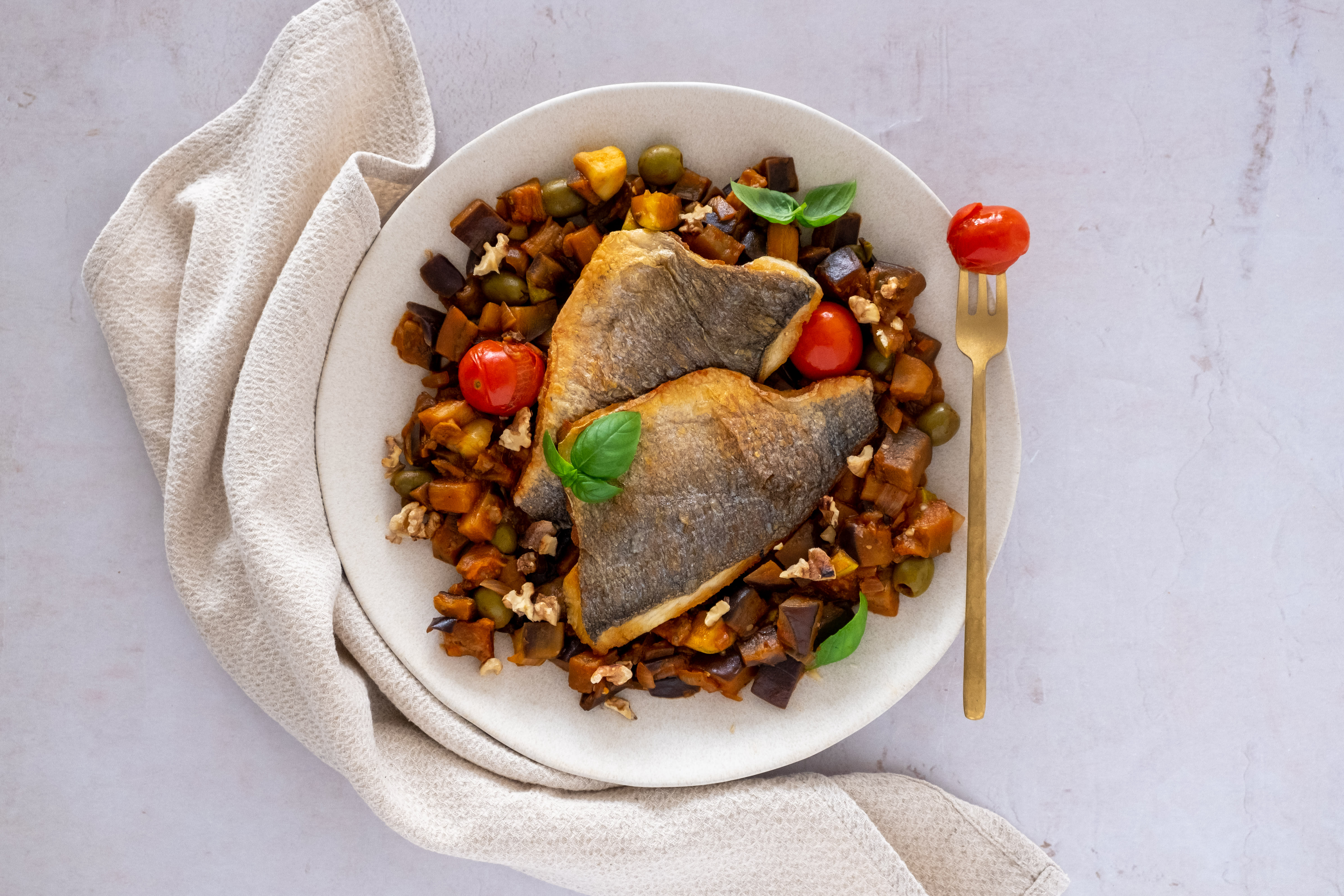 Crispy Seabass with Caponata Vegetables and Toasted Walnuts