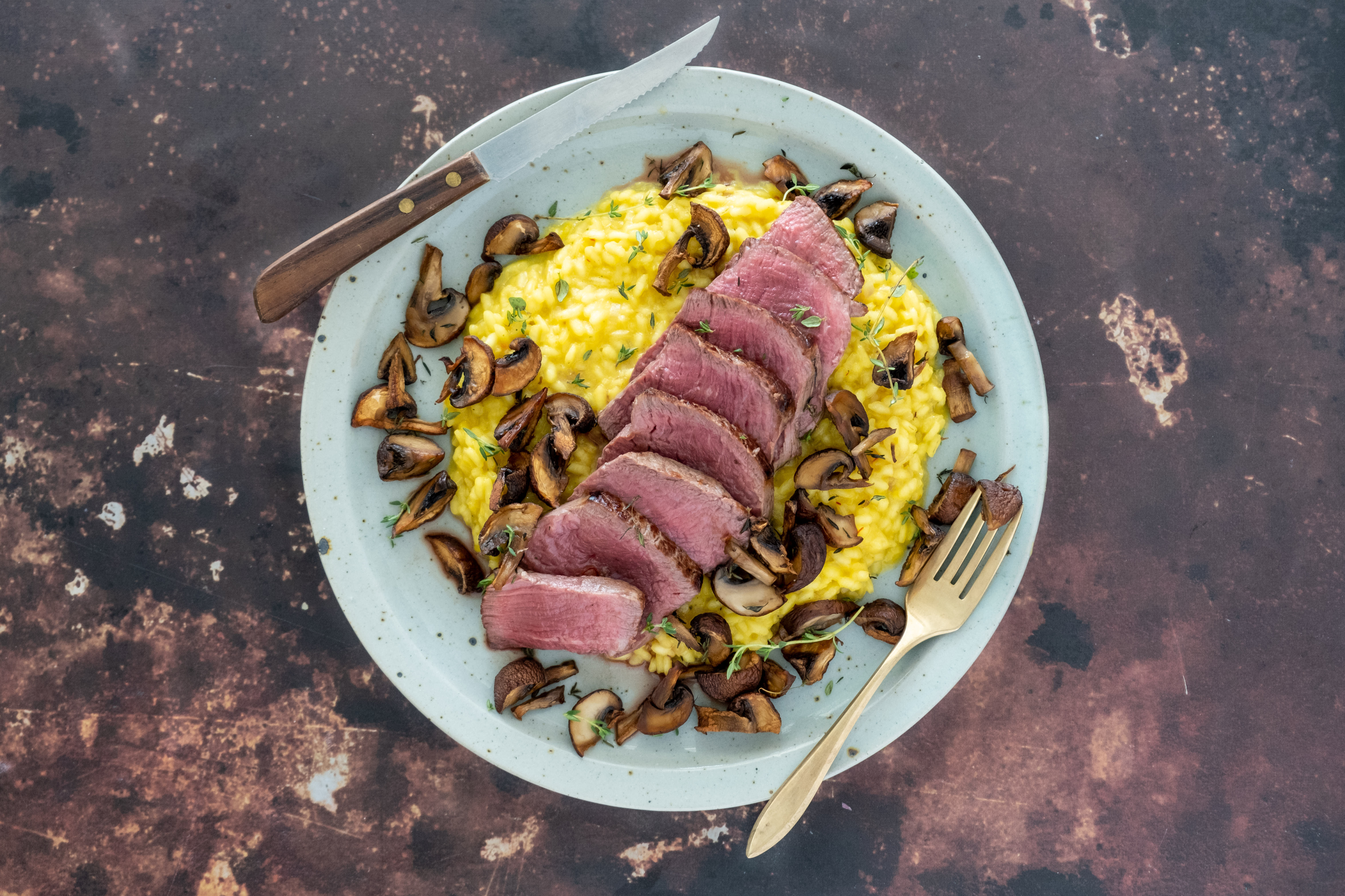 Fillet Steak with Saffron Risotto and Mushrooms