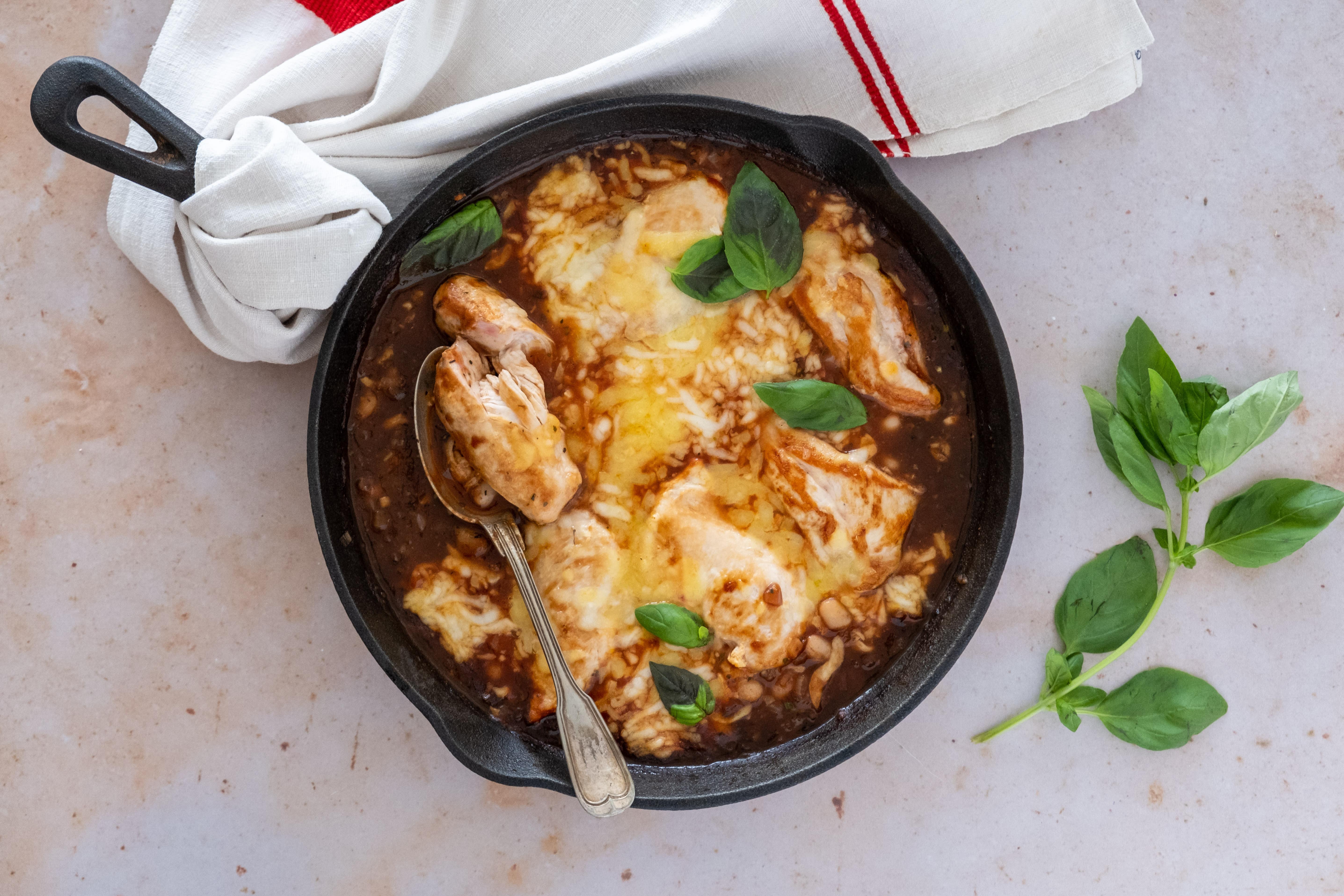 Cheesy Mediterranean Chicken Casserole with Beans