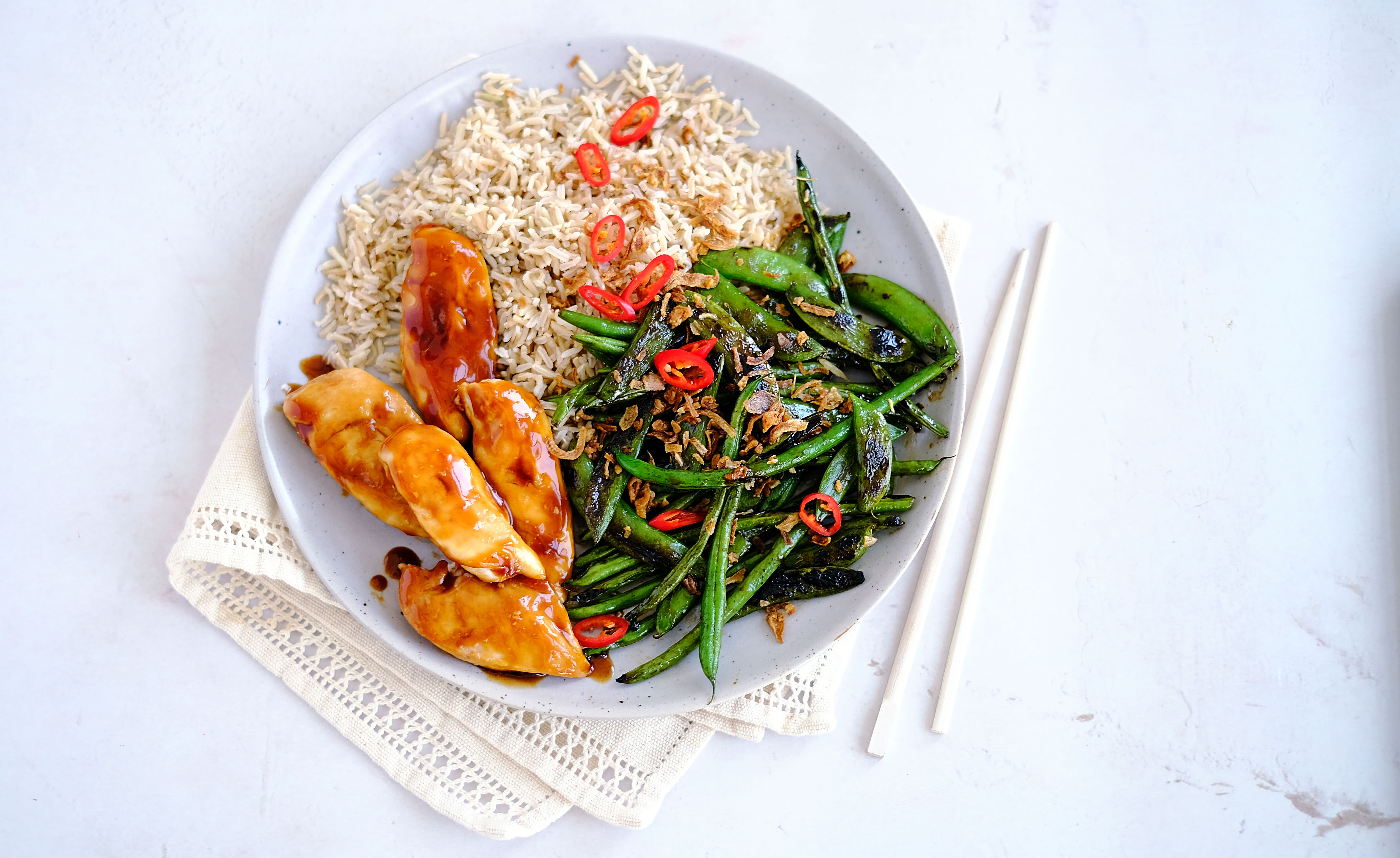 Glazed Chicken with Blistered Greens and Brown Rice
