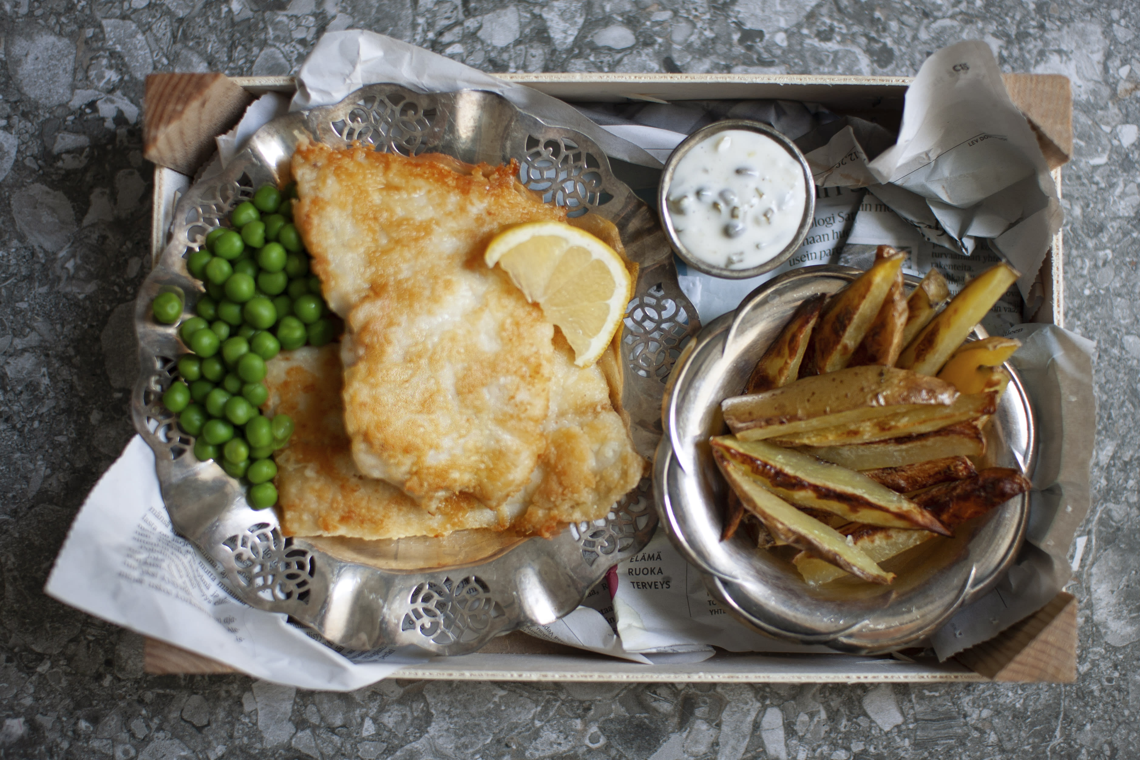 Posh Fish and Chips with Peas and Tartar Sauce
