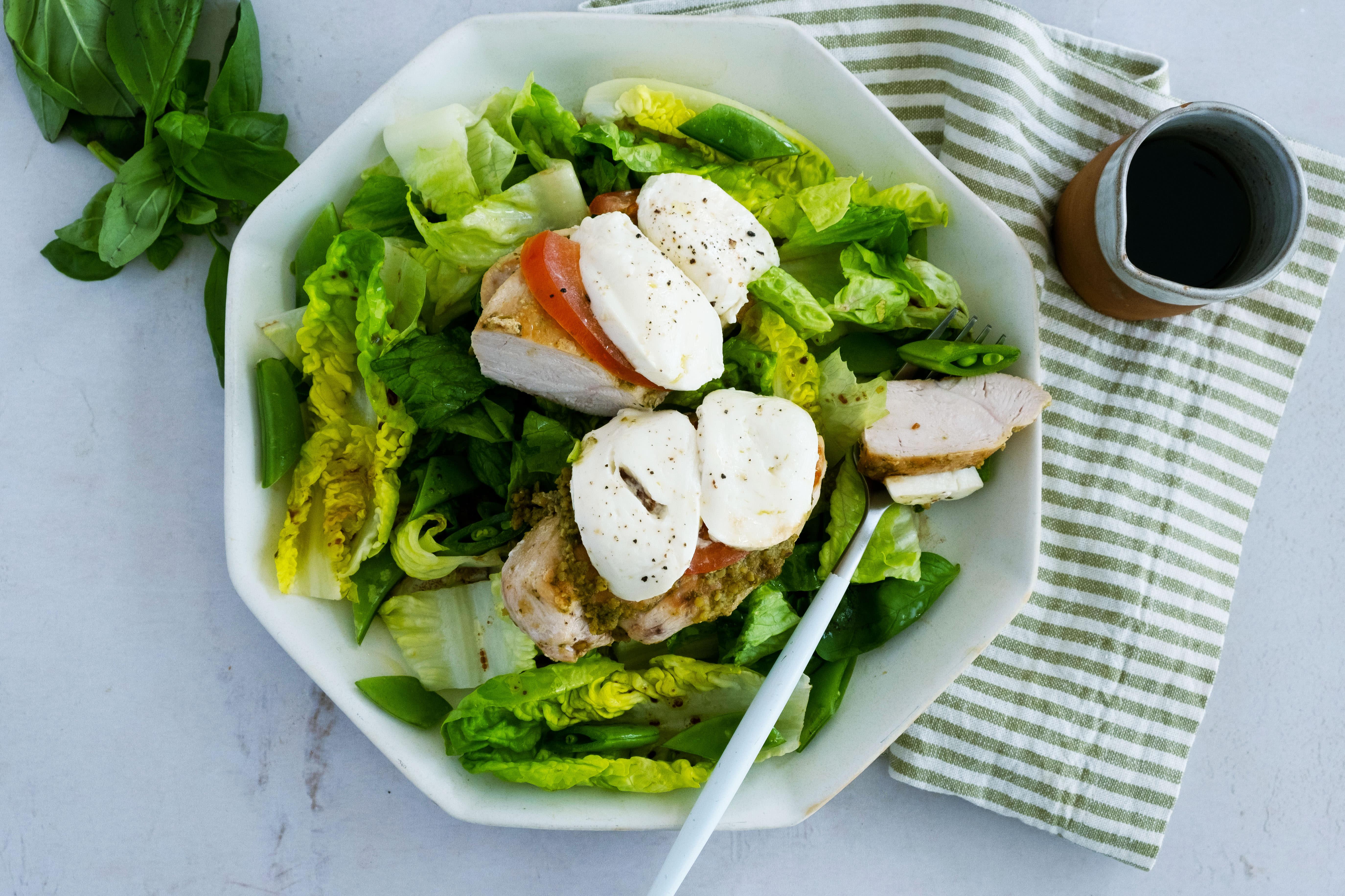 Chicken Caprese over Crunchy Salad
