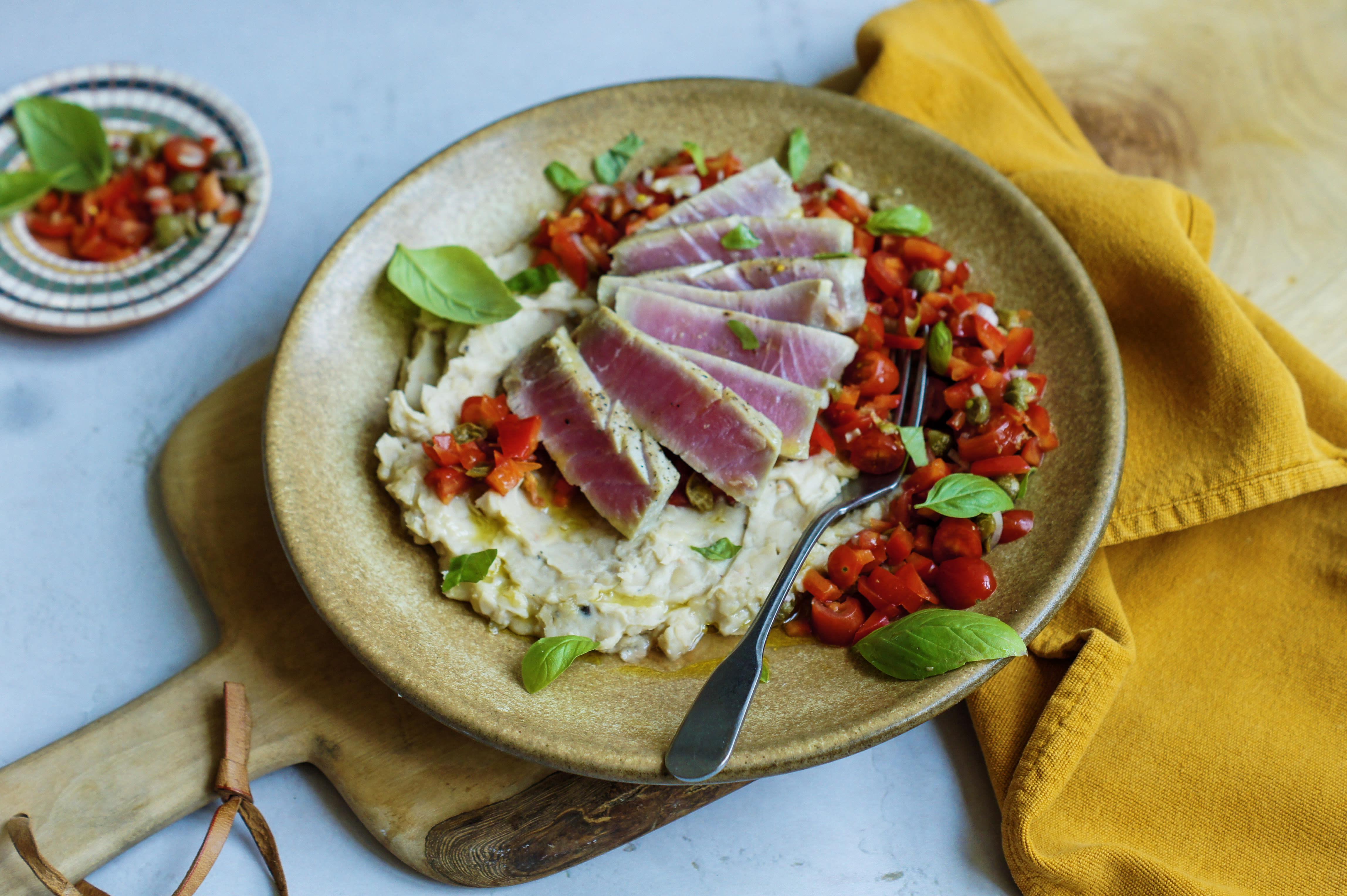 Spanish Tuna Steaks with Tomato Salsa and Bean Mash