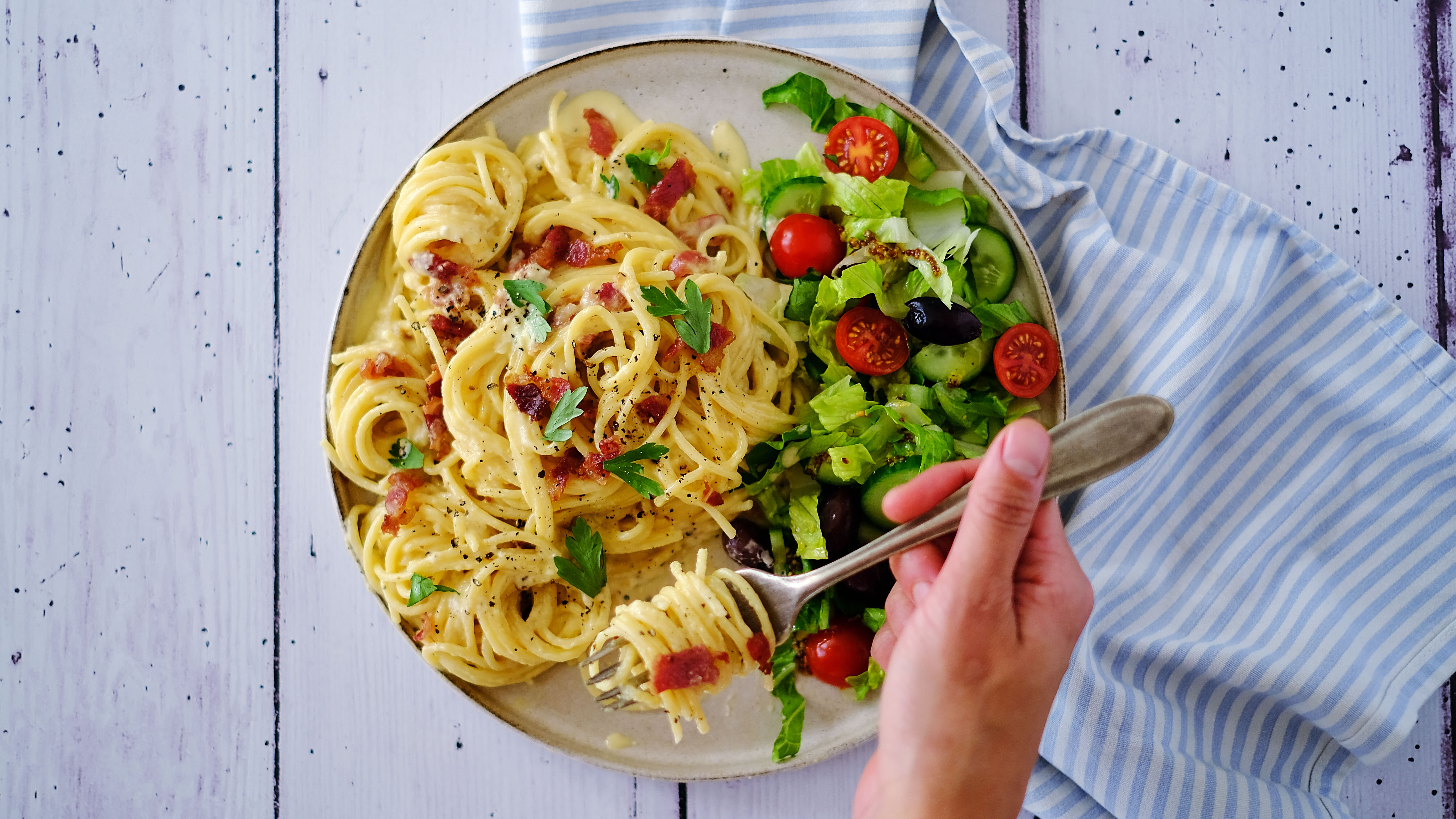 Spaghetti Carbonara with Beef Bacon and Salad
