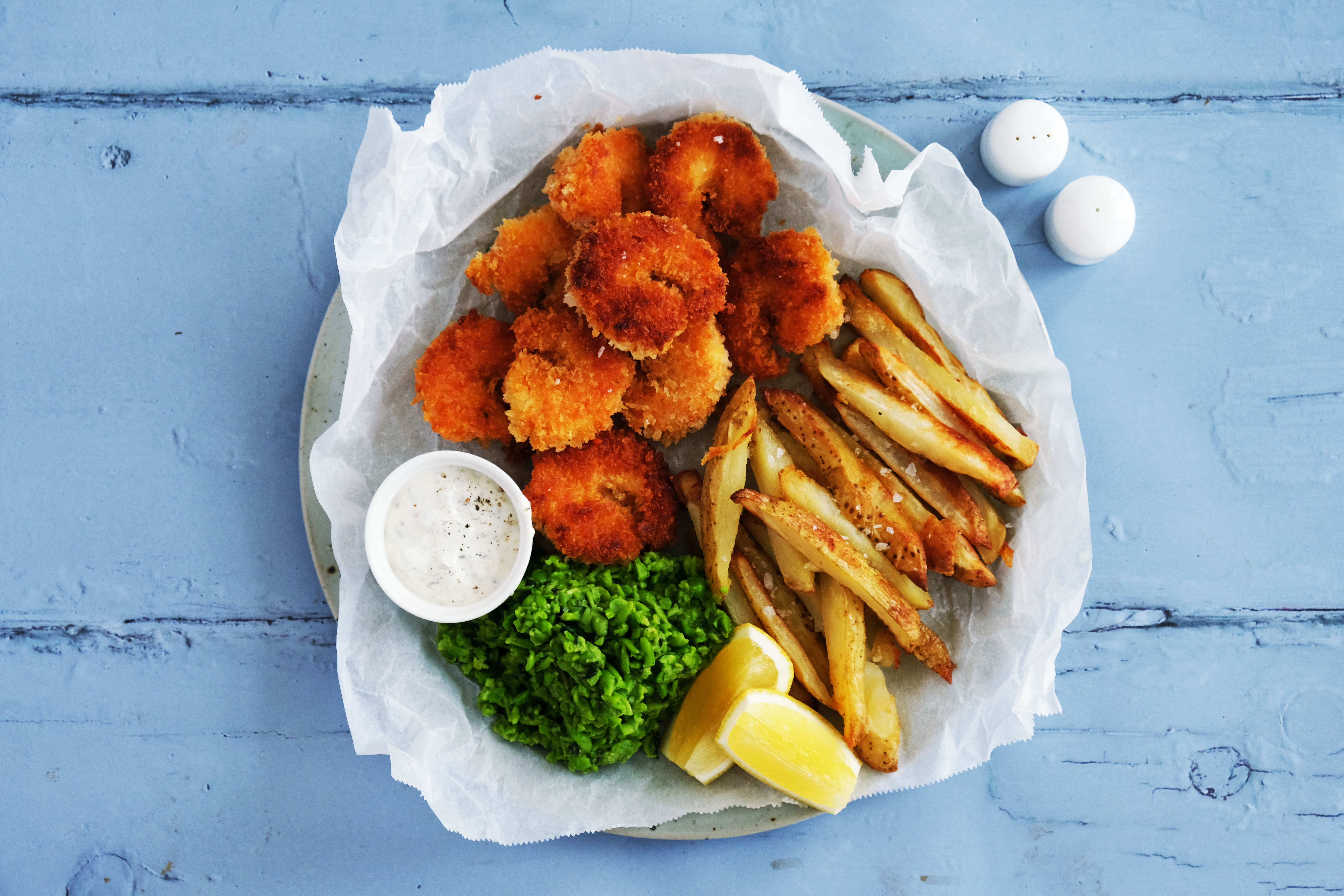 Scampi and Chips with Minty Peas and Tartare Sauce