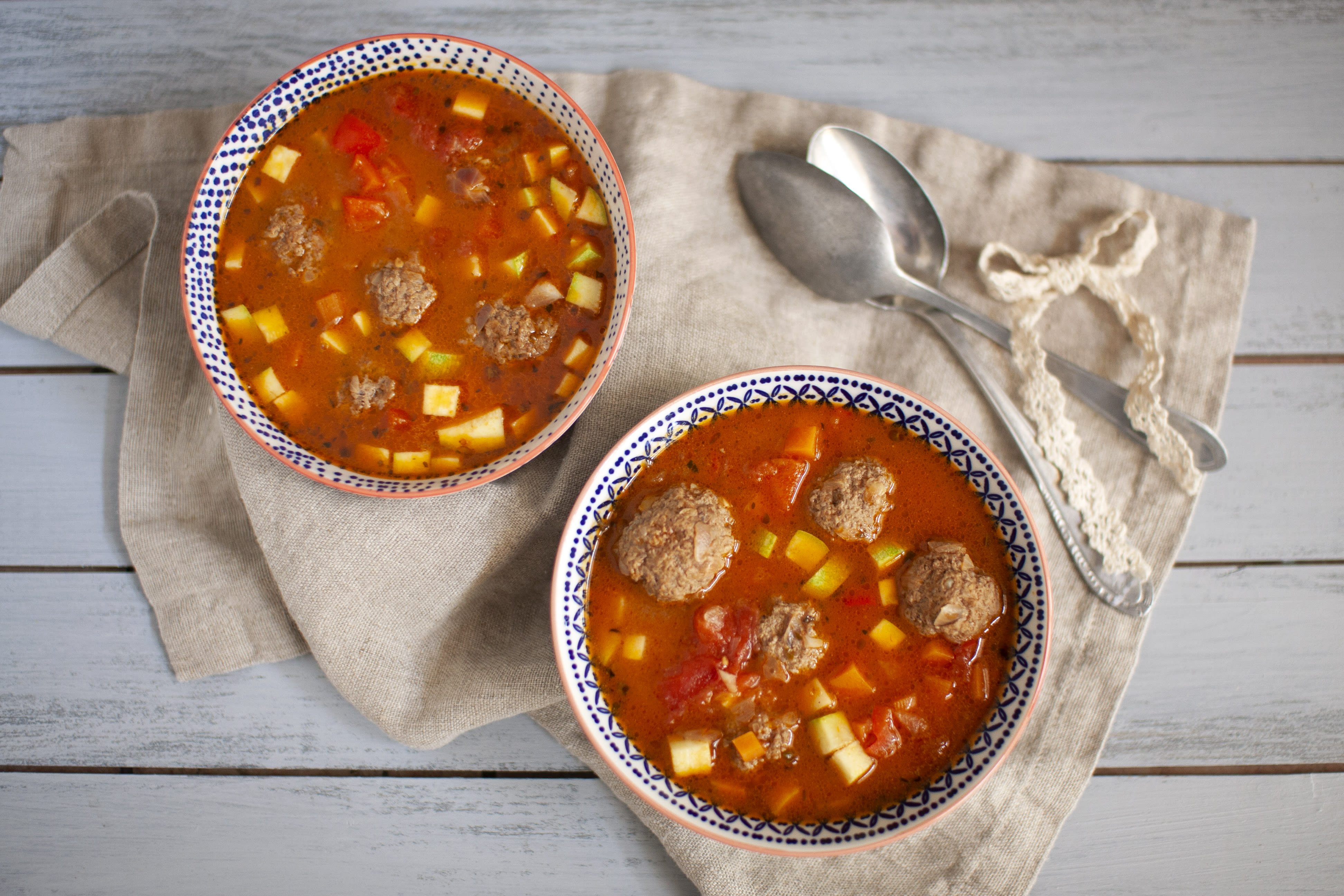 Homemade Meatballs in Hearty Vegetable Soup