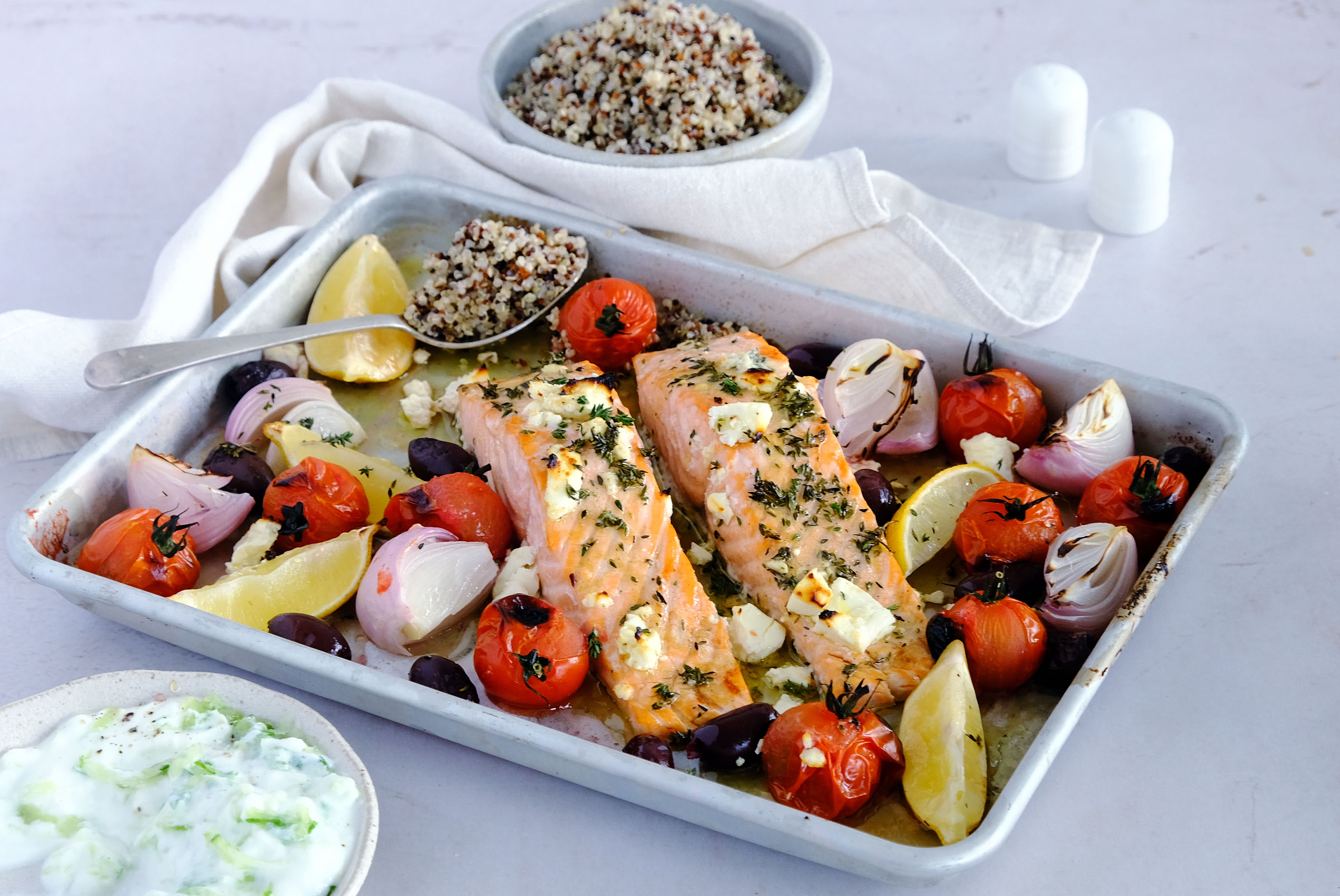 Greek Baked Salmon with Tzatziki and Quinoa