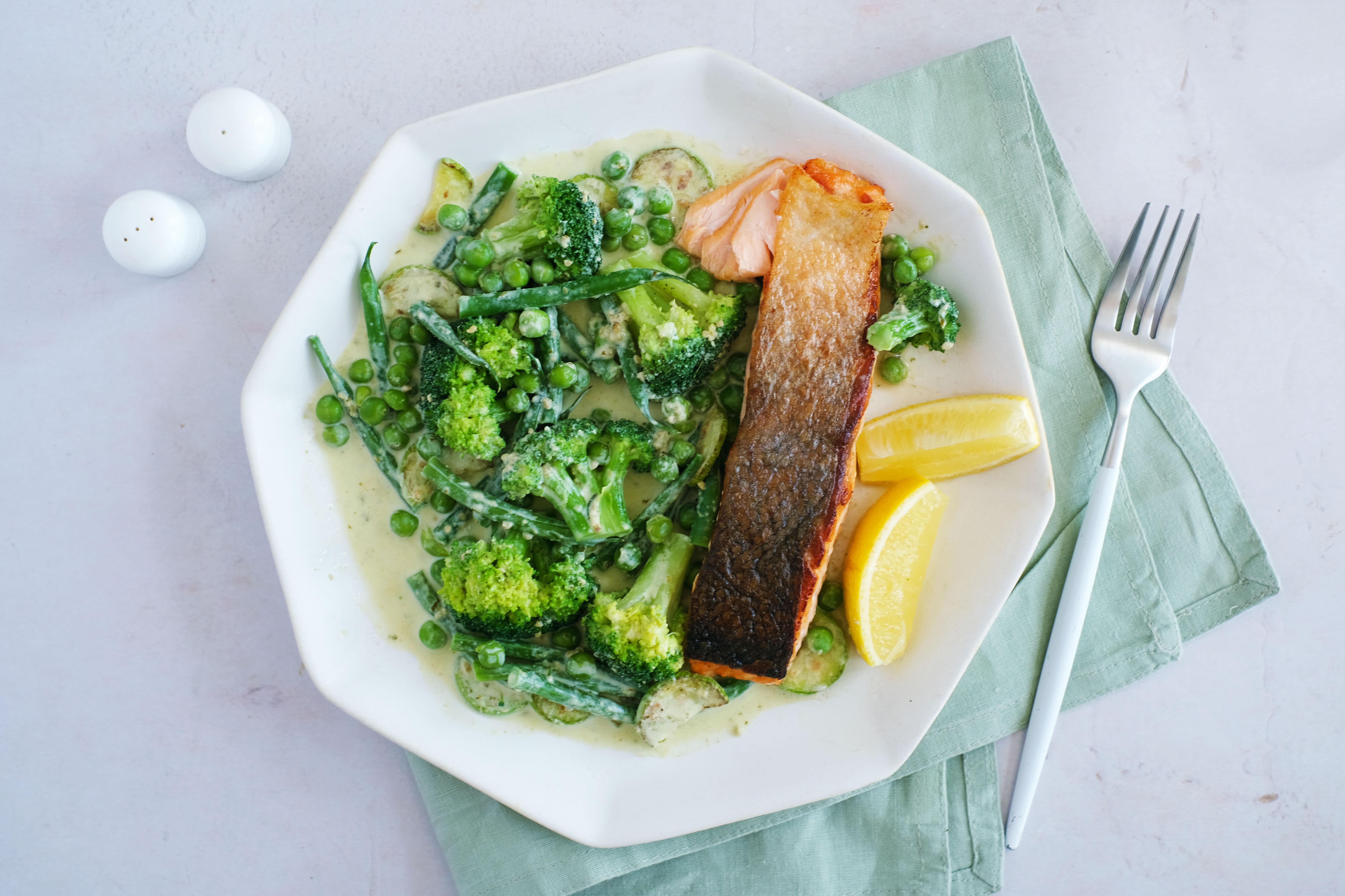 Pan-fried Salmon with Creamy Pesto Vegetables