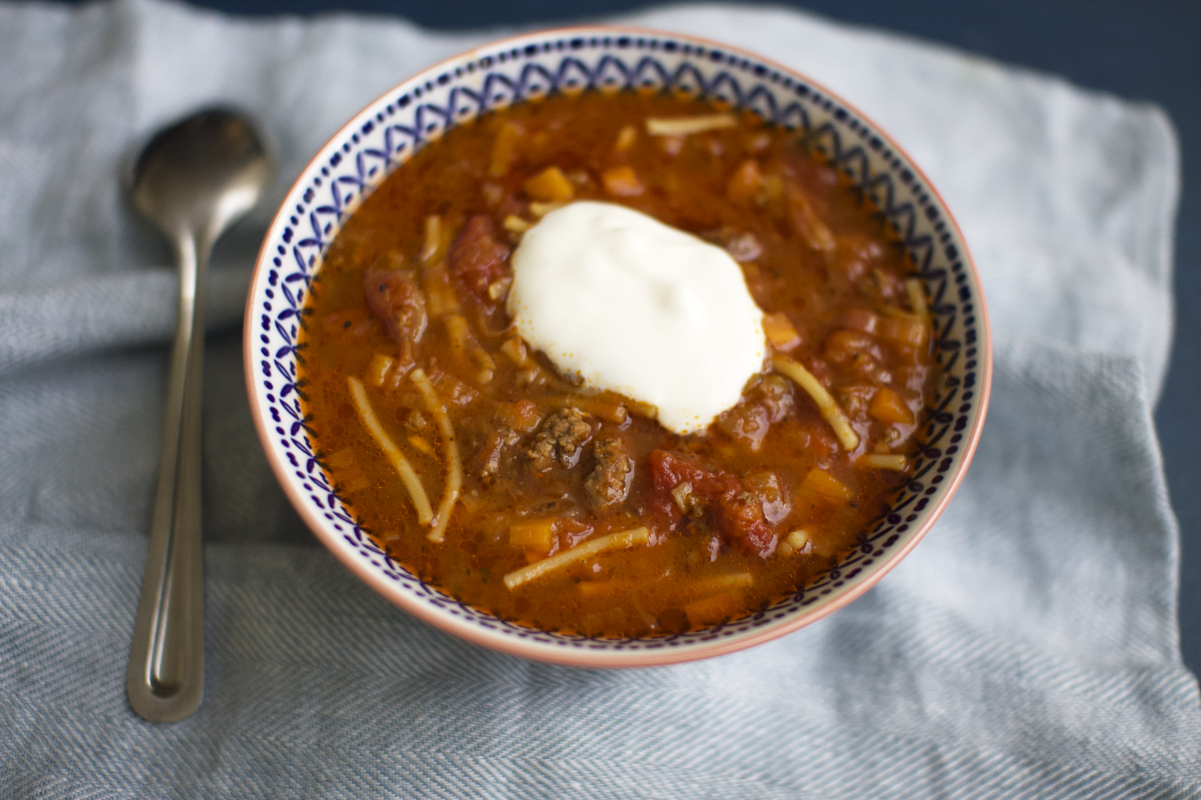 Beef and Tomato Spaghetti Soup