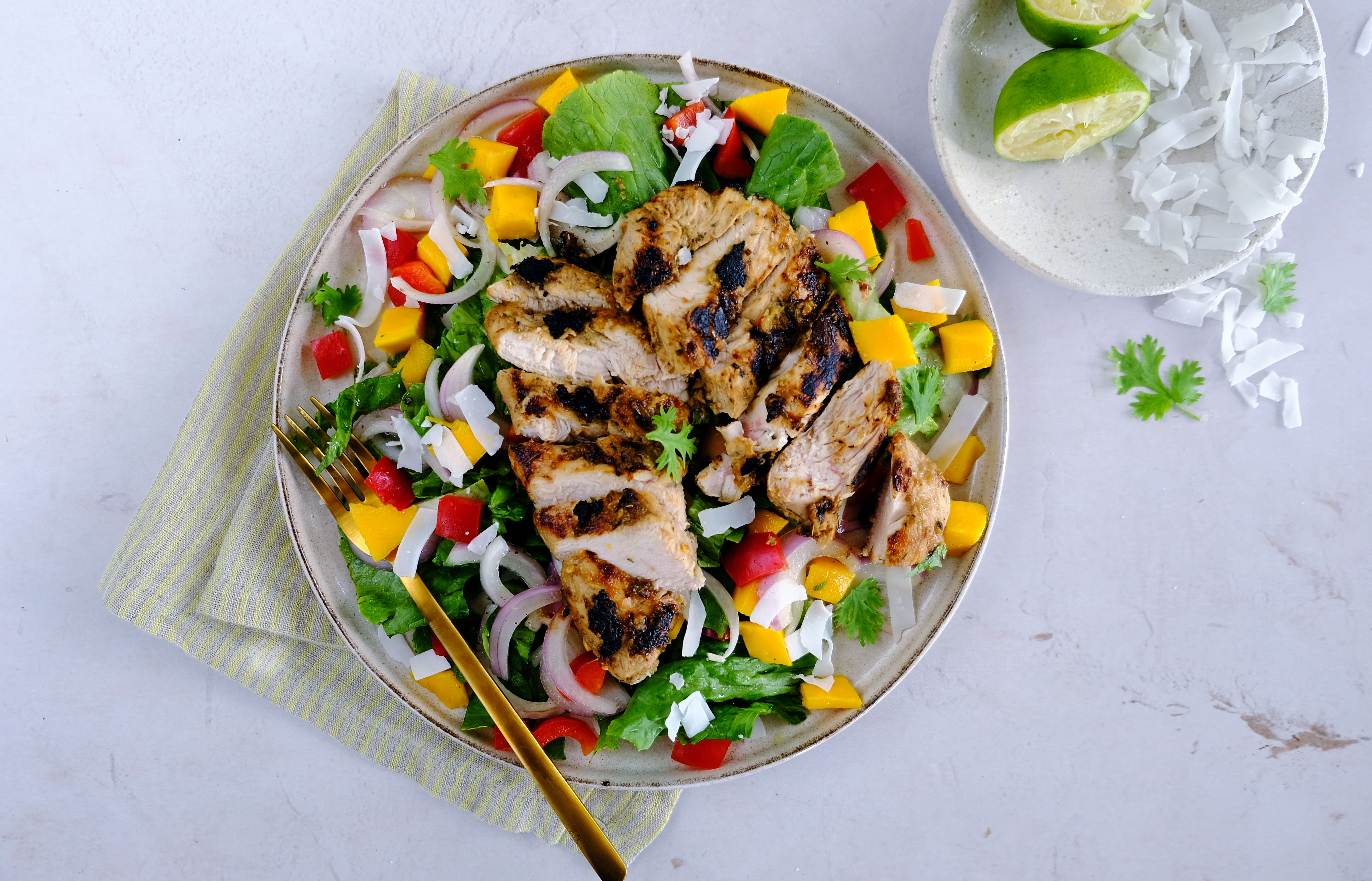 Jerk Chicken Salad with Mango and Coconut