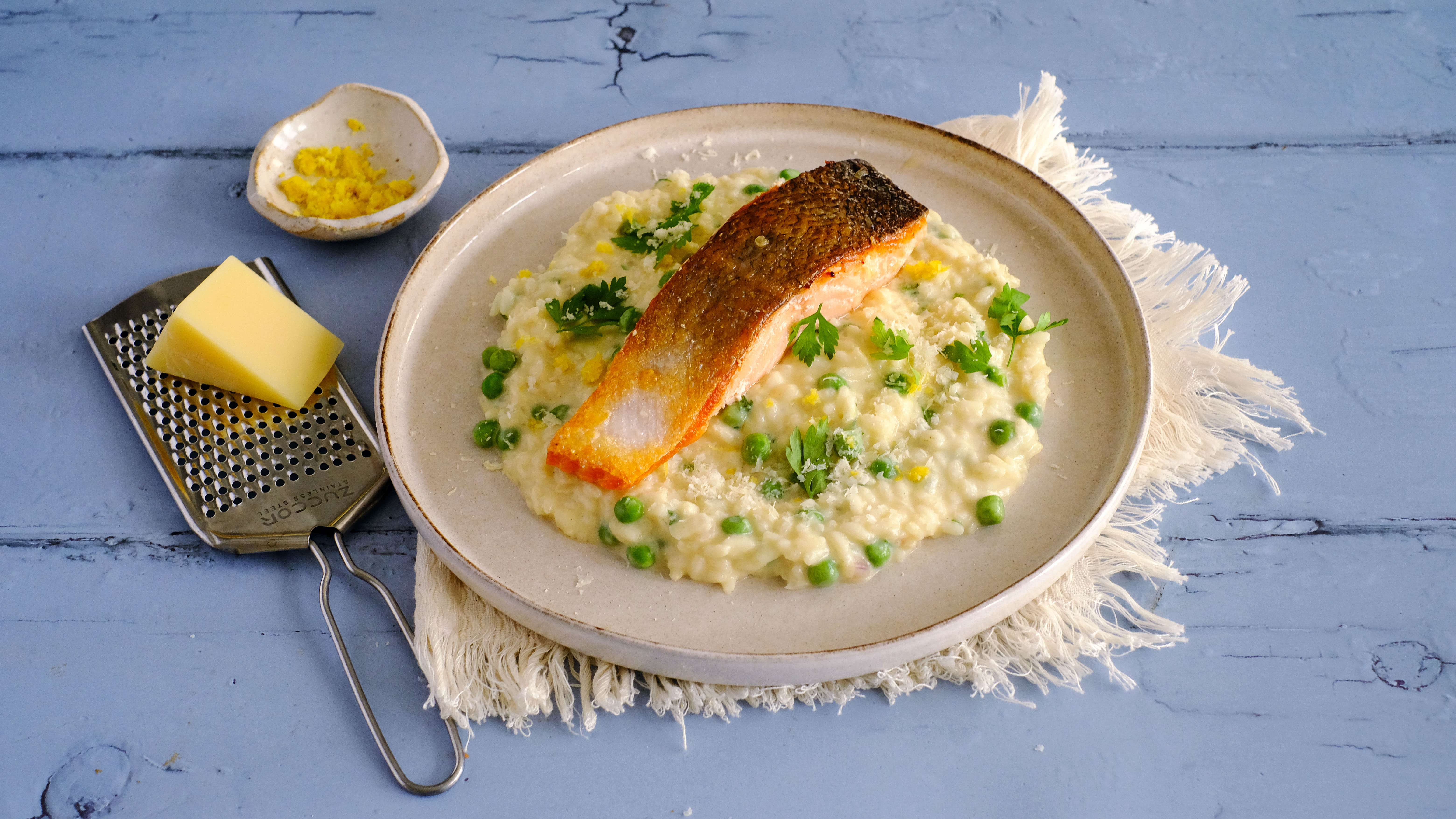 Pan-fried Salmon with Lemon Risotto