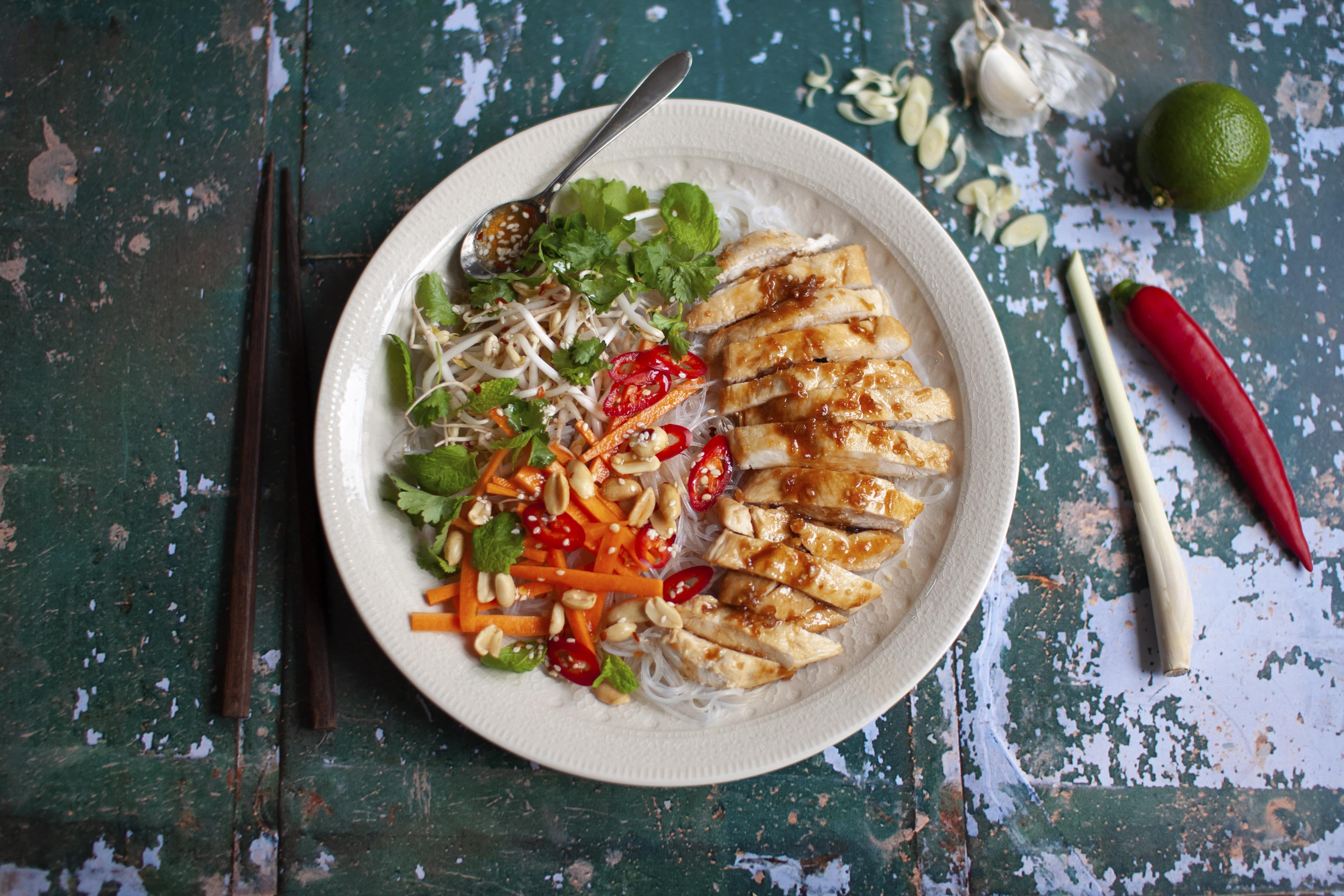 Vietnamese Lemongrass Chicken and Glass Noodle Bowl