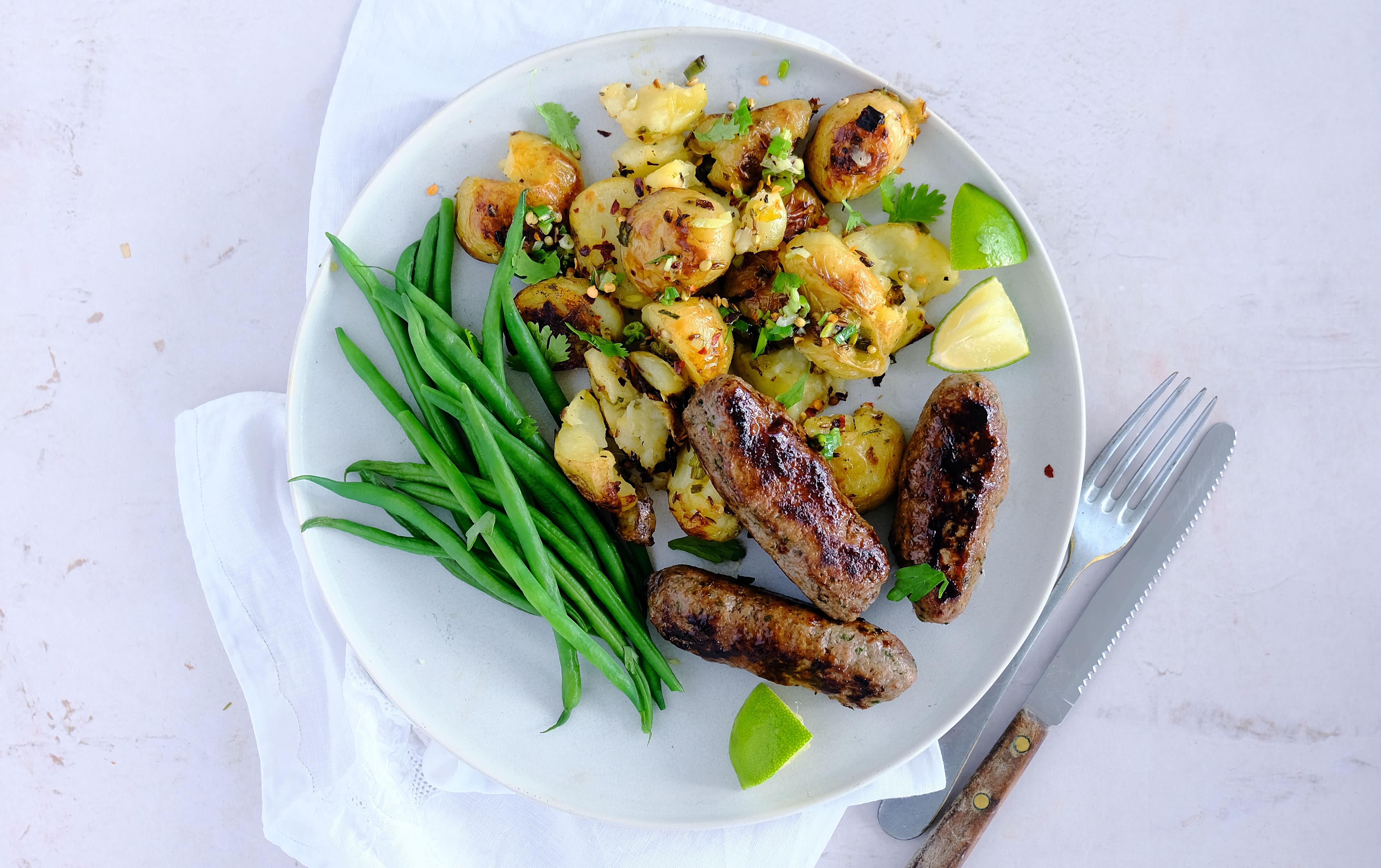 Lamb Kebabs, Gunpowder Potatoes and Green Beans