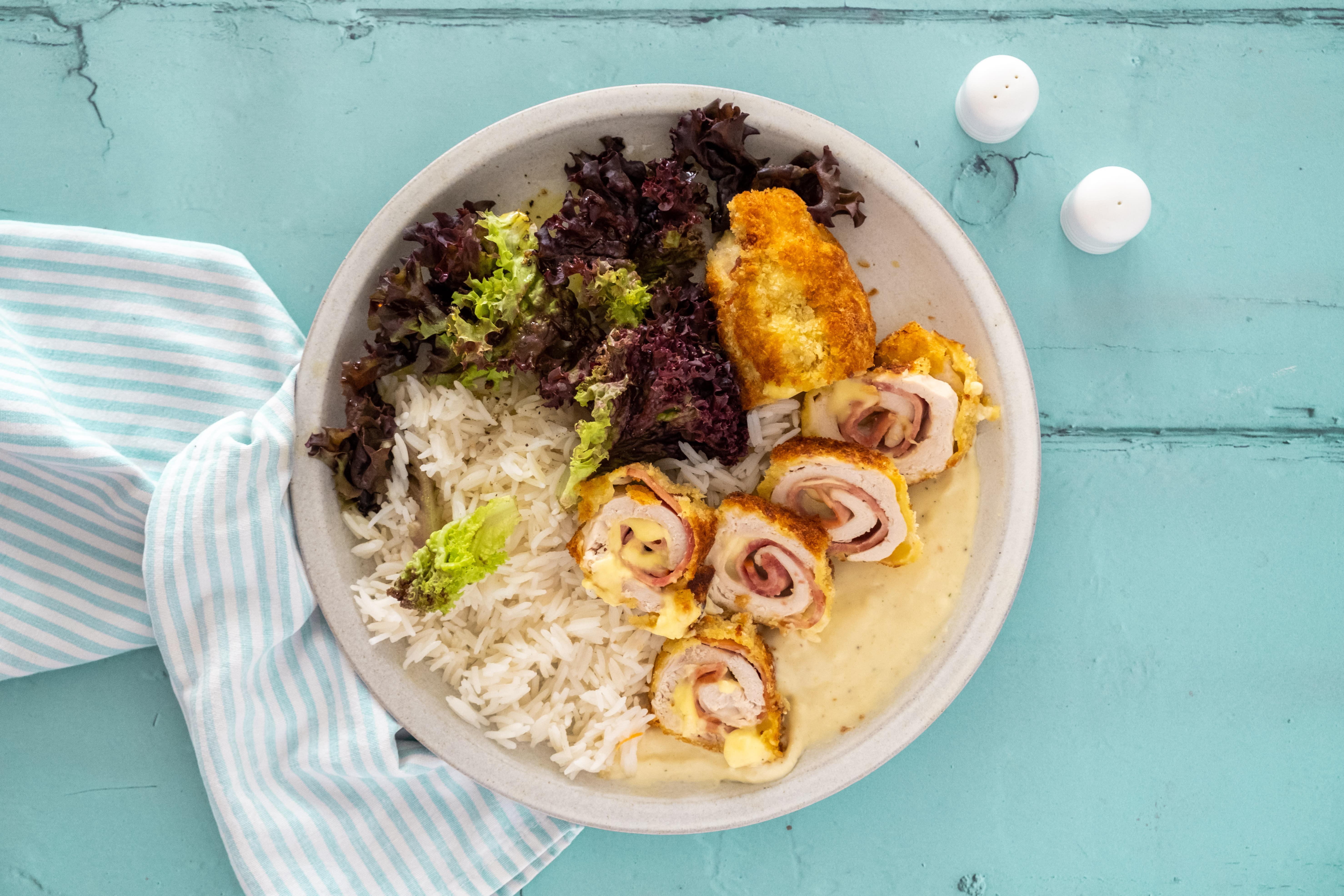 Chicken Cordon Bleu with Salad and Dijon Sauce
