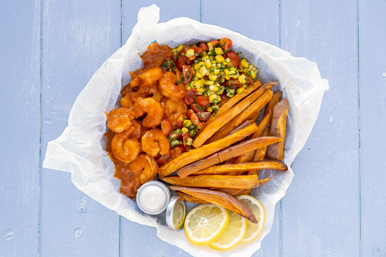 Peri-Peri Prawns with Corn Salsa and Sweet Potato Chips