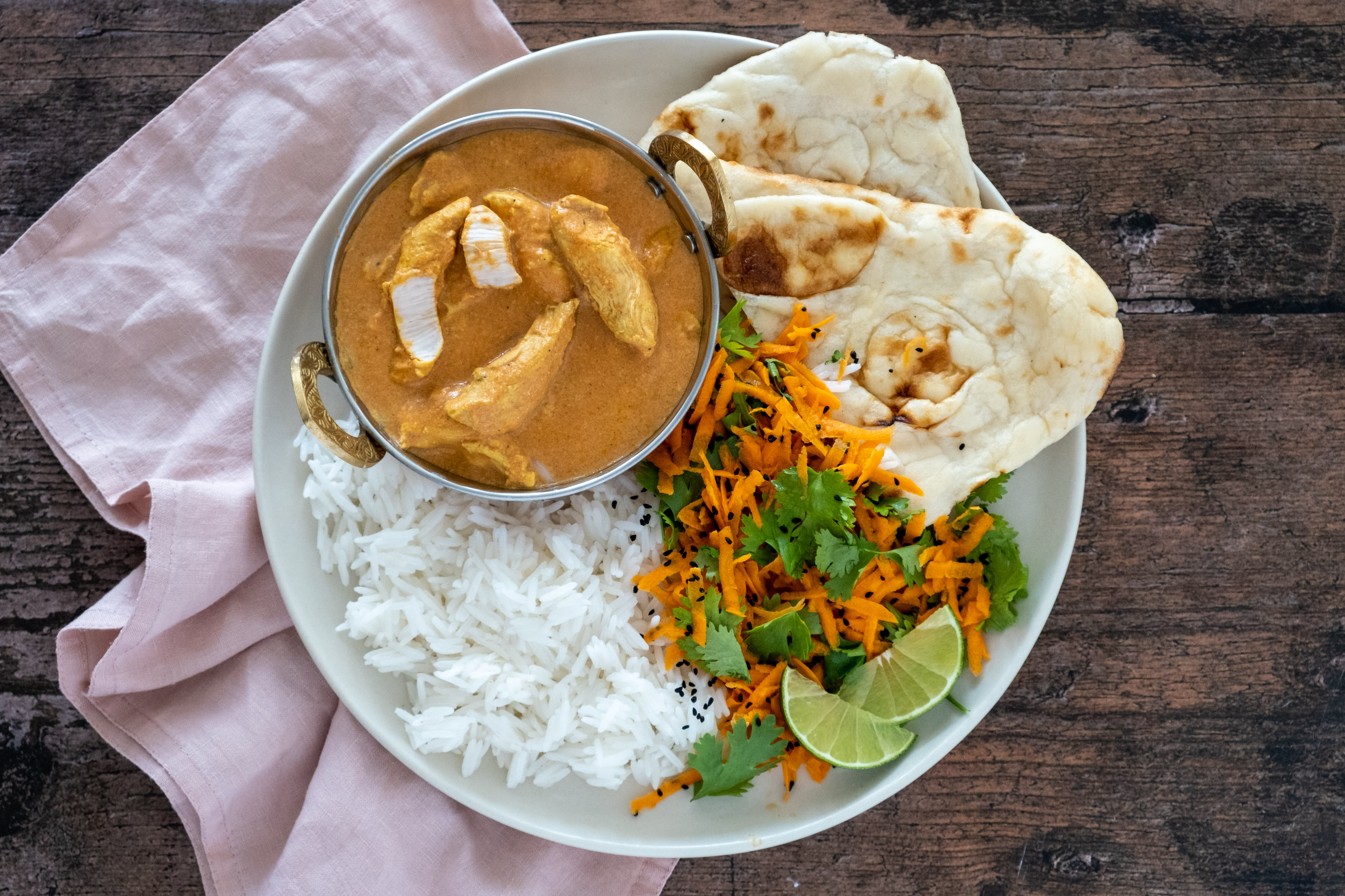 Butter Chicken Curry with Basmati Rice and Naan Bread