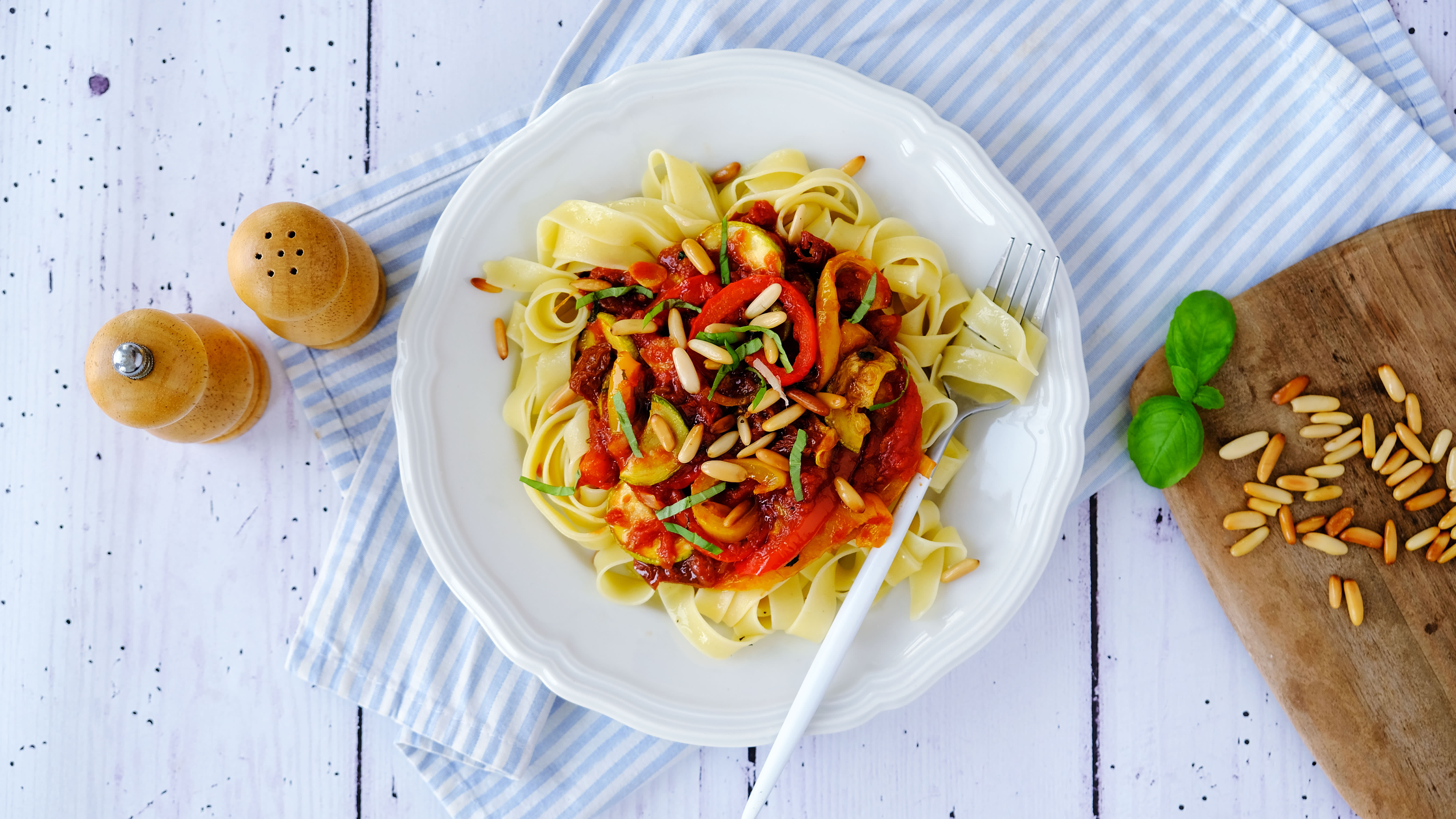 Roasted Vegetable Fettuccine with Pine Nuts