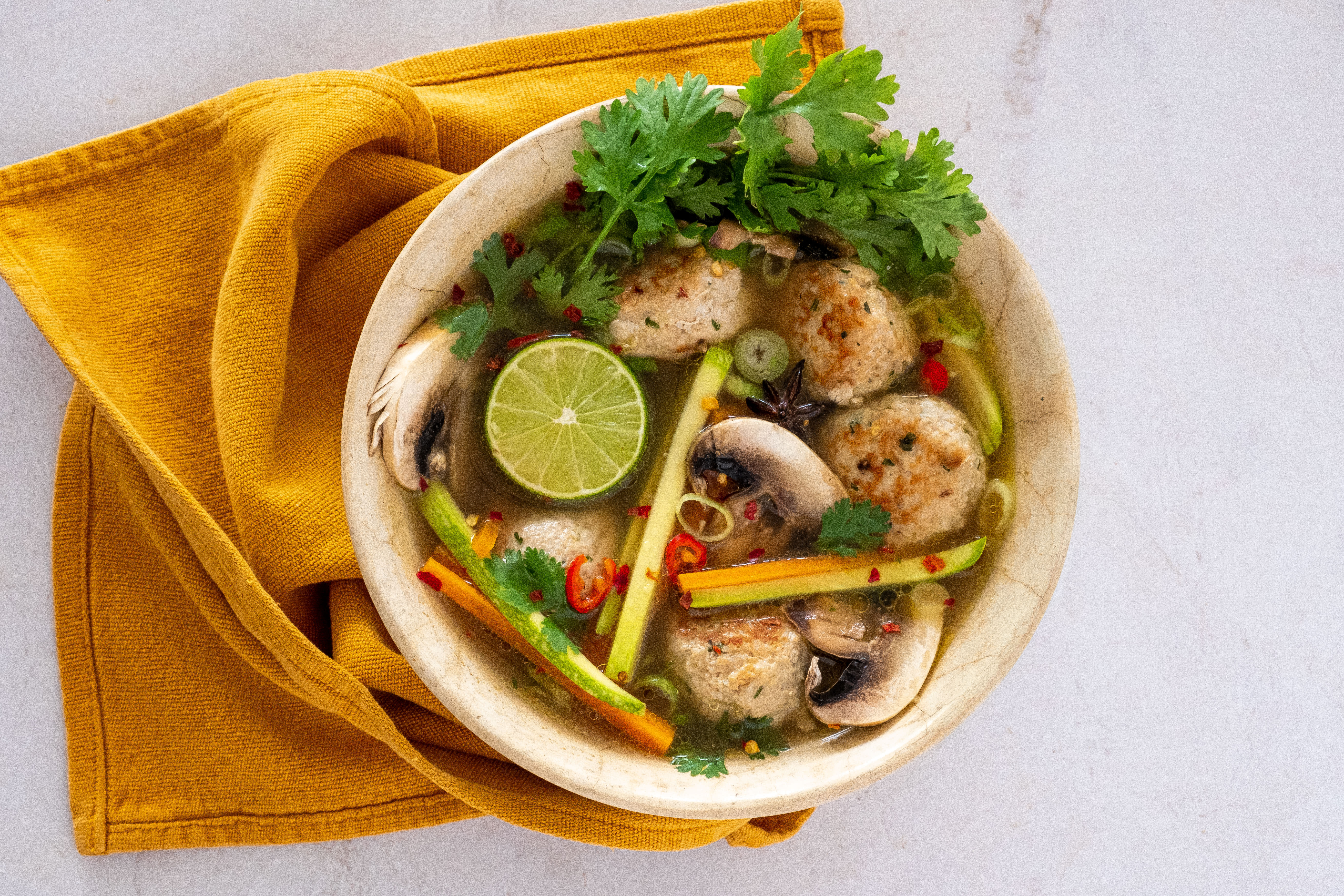 Chicken Meatball Pho Soup