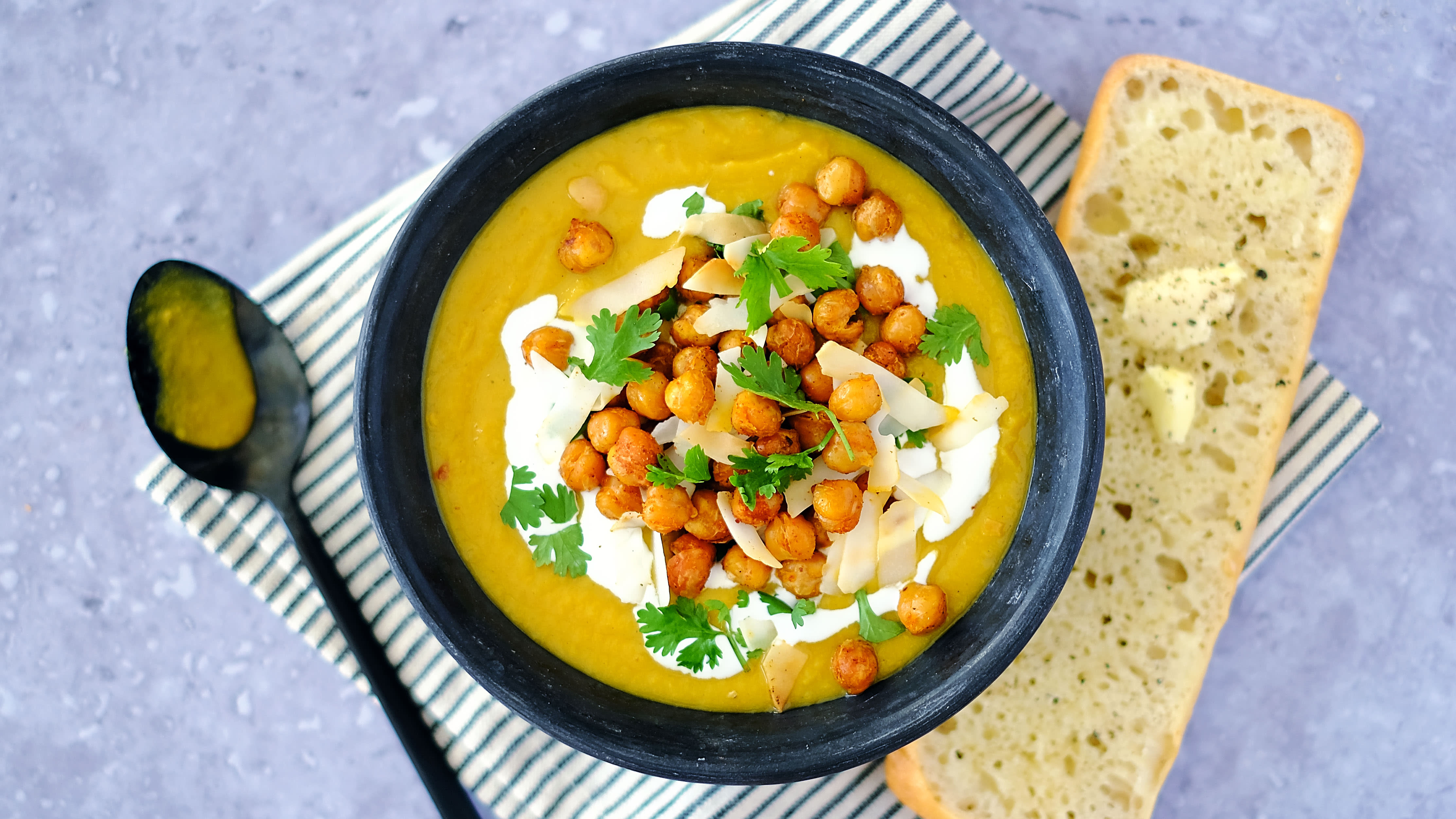 Spiced Sweet Potato and Coconut Soup with Crispy Chickpeas