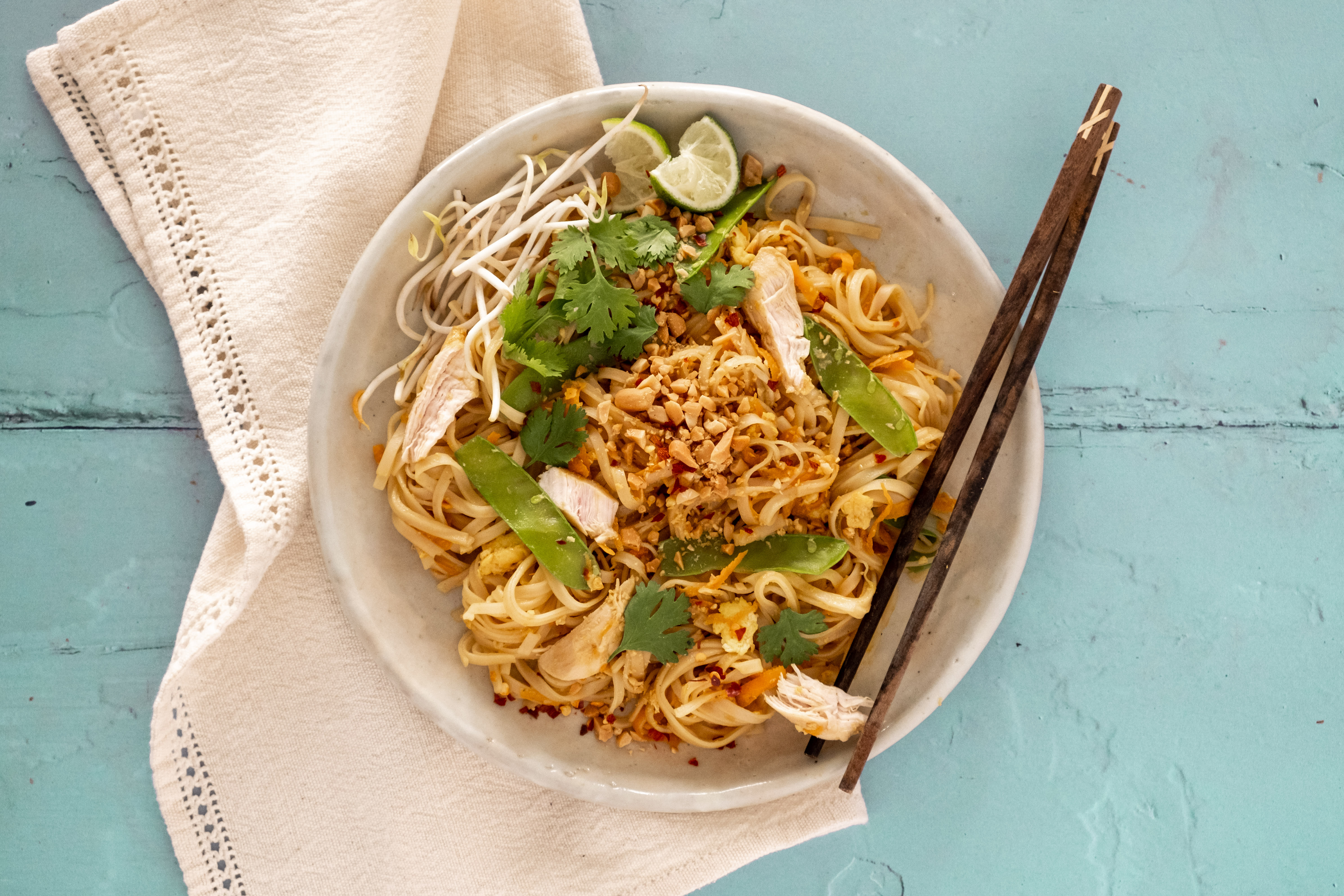 Chicken Pad Thai with Snow Peas and Roasted Peanuts