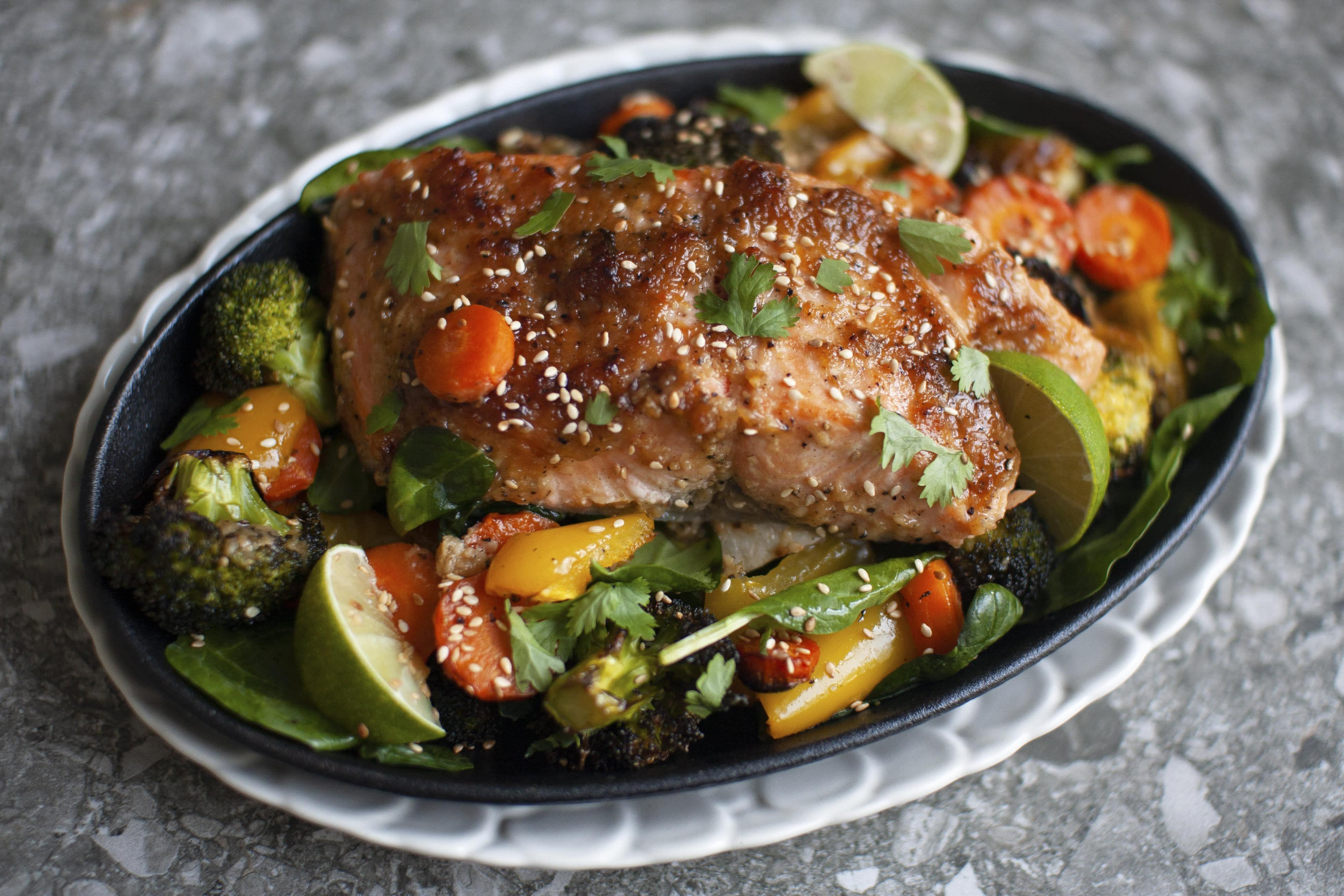 Sweet Miso Salmon on Roasted Vegetables