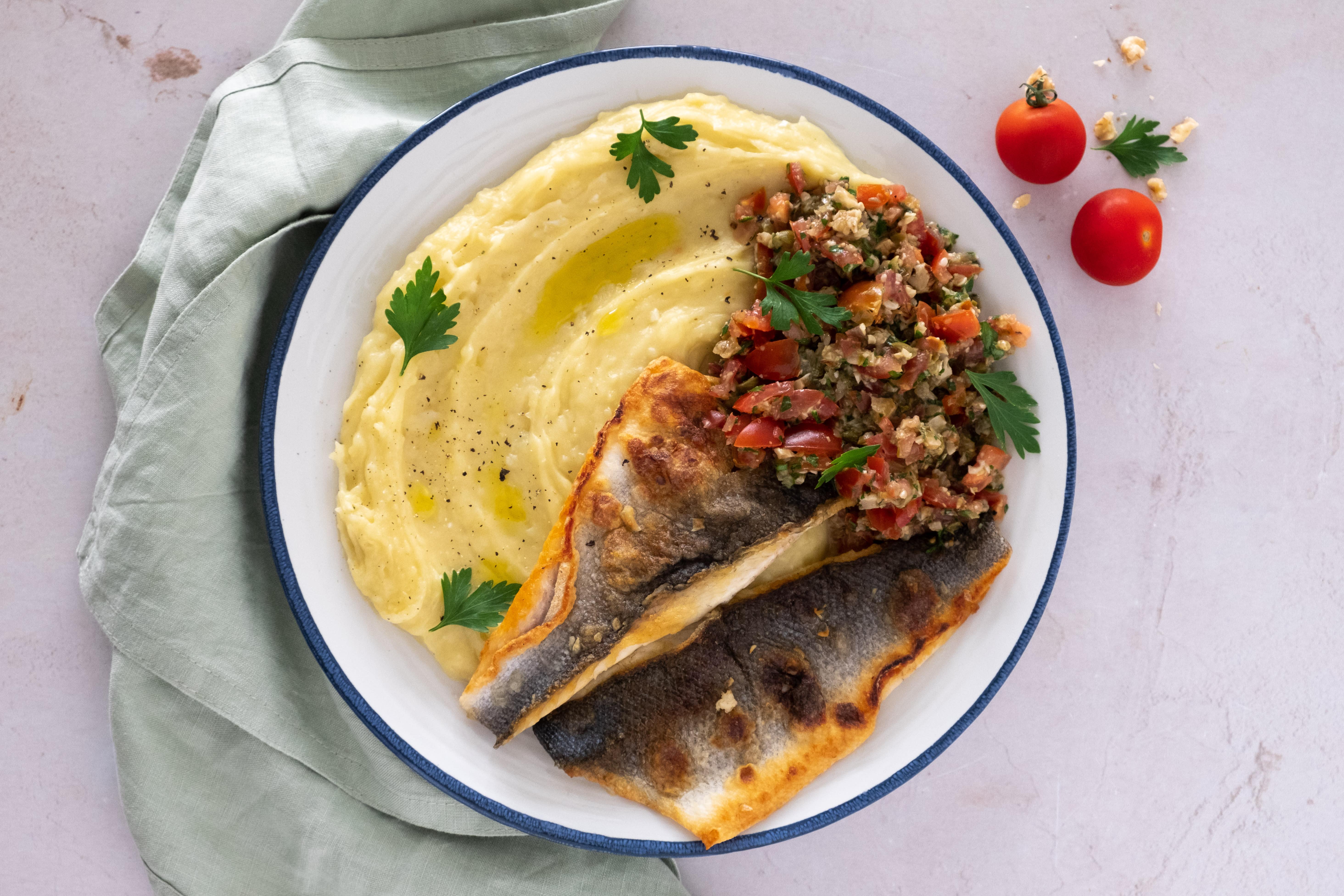 Seabass with Skordalia; Garlic Mash Potato and Greek Tomato Salsa