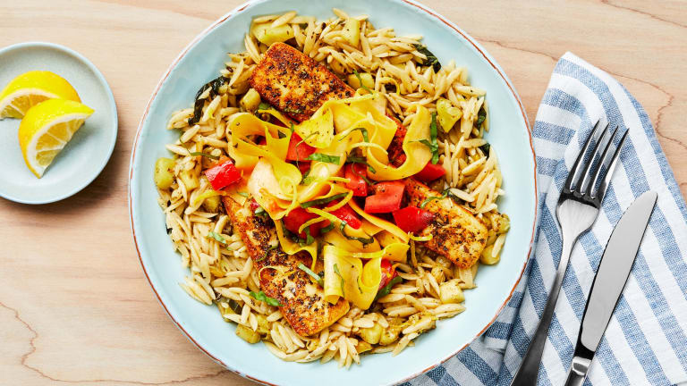 Tuscan Grilling Cheese and Lemony Orzo