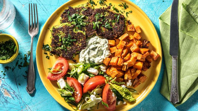 Brokkoli-Taler mit Ofen-Süßkartoffeln