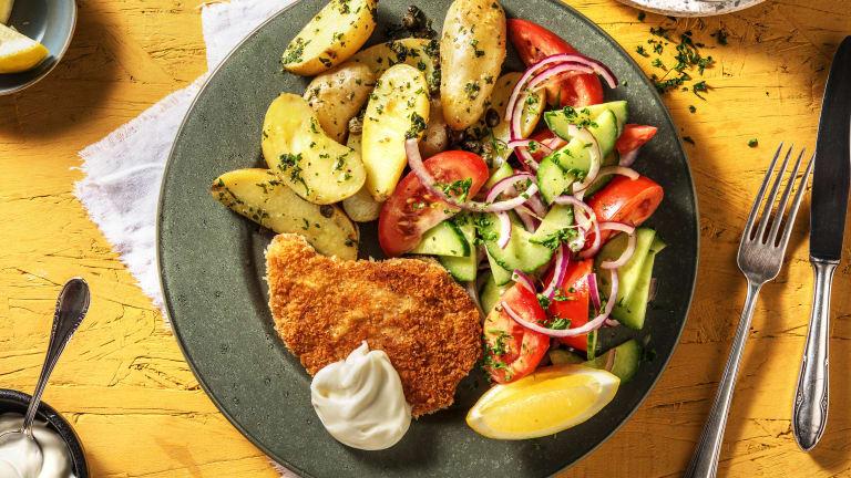 Escalope panée végétarienne et grenailles au persil