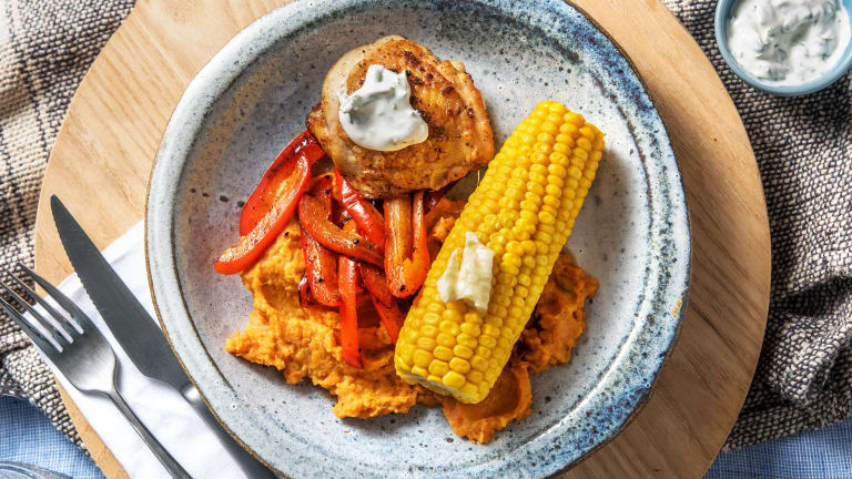 Poulet au piri-piri et épi de maïs