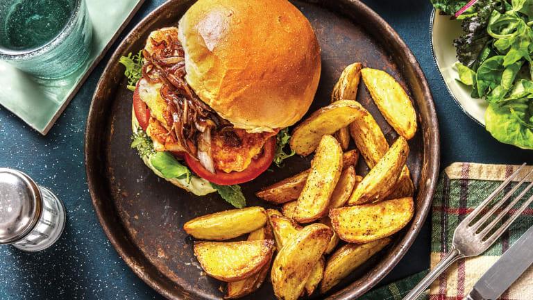 Mediterranean Haloumi & Caramelised Onion Burger