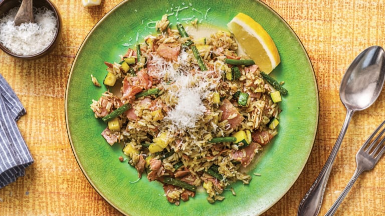 Smoked Ham & Basil Pesto Rice Pilaf