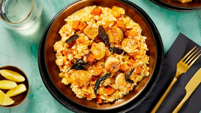 Scallops Over Butternut Squash Risotto
