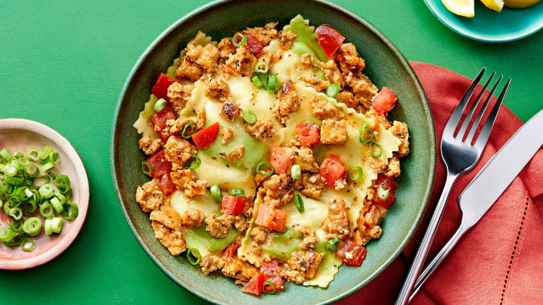 Chicken Sausage and Spinach Ravioli