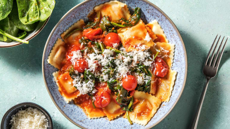 Verse ravioli met ricotta en spinazie