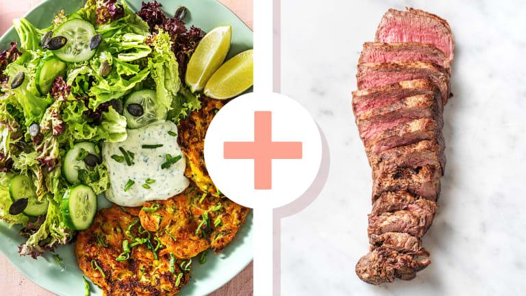 Zucchini-Cheddar-Puffer mit Steakstreifen