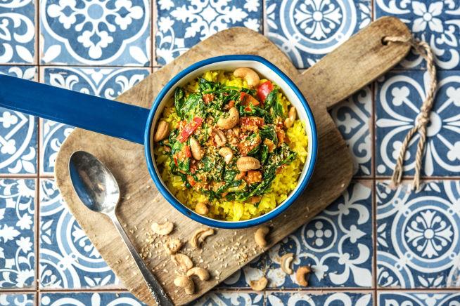 Snelle recepten - Spinazie-curry met gele rijst