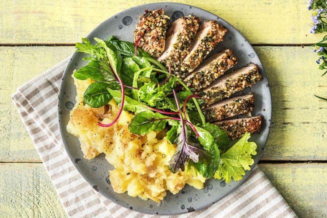 Gesunde Gerichte - Schweinefilet unter würziger Kräuterkruste,