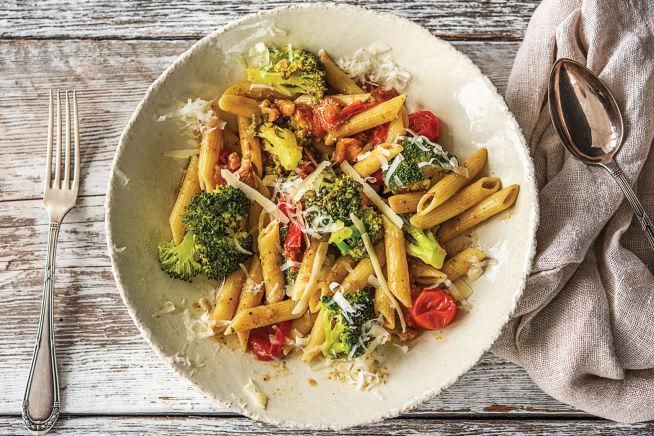 Quick Meals - Speedy Basil Pesto, Broccoli and Walnut Penne