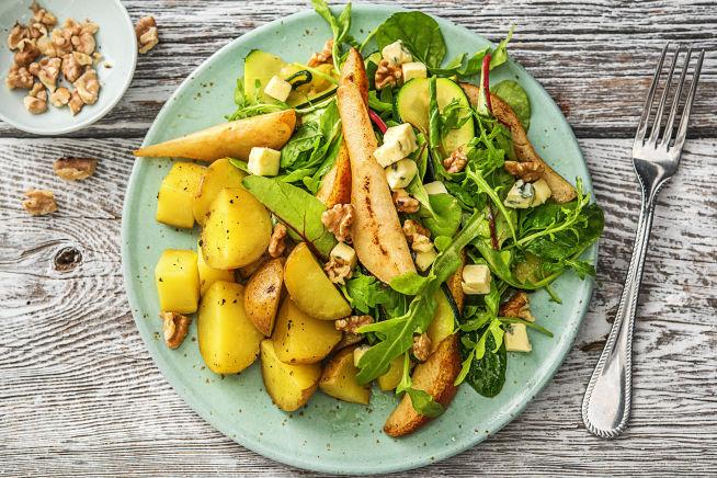 Vegetarische recepten - Salade met peer, danablue en walnoot